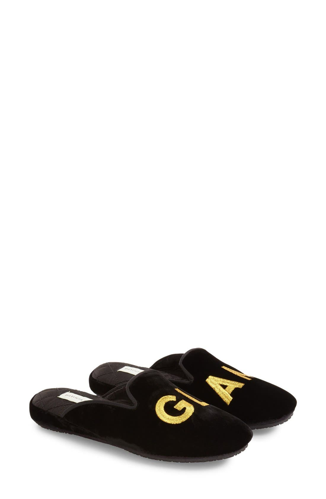 'Glam' Scuff Slipper,                             Alternate thumbnail 3, color,                             BLACK VELVET