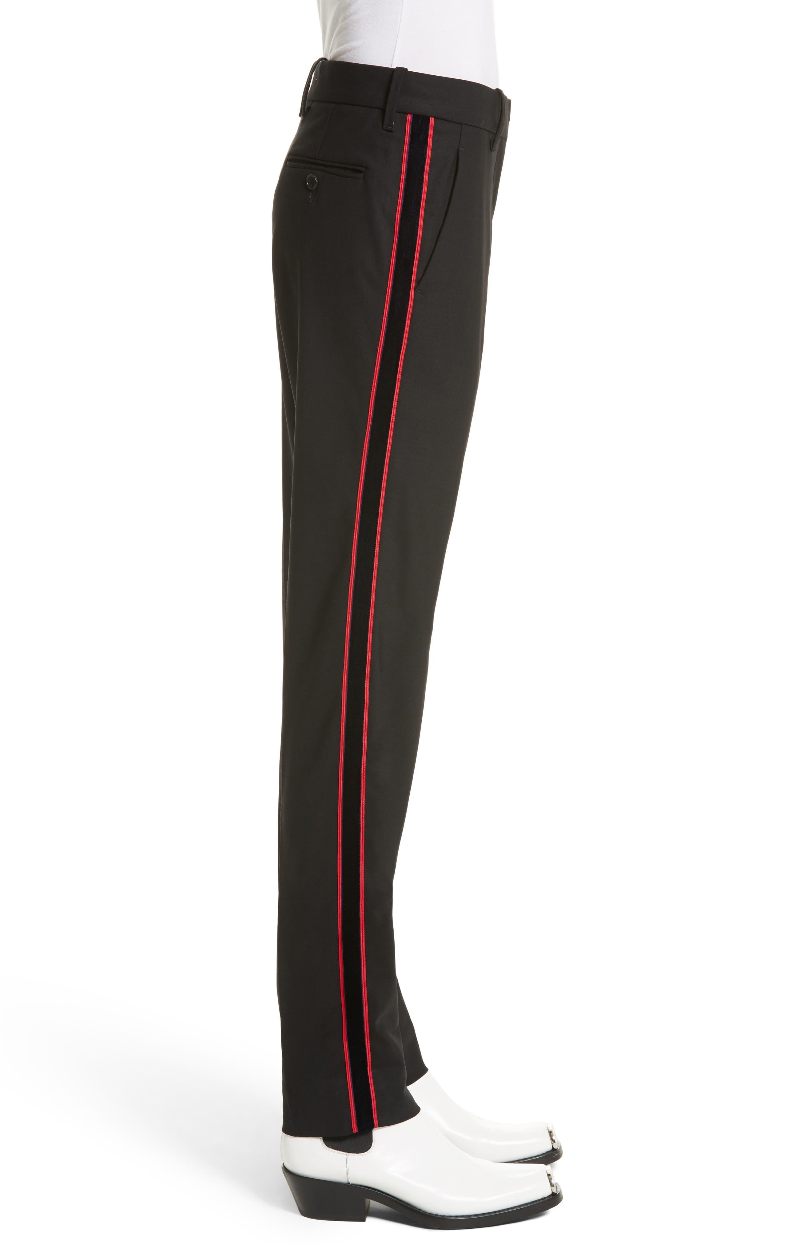 Velvet Stripe Stretch Wool Pants,                             Alternate thumbnail 3, color,                             001