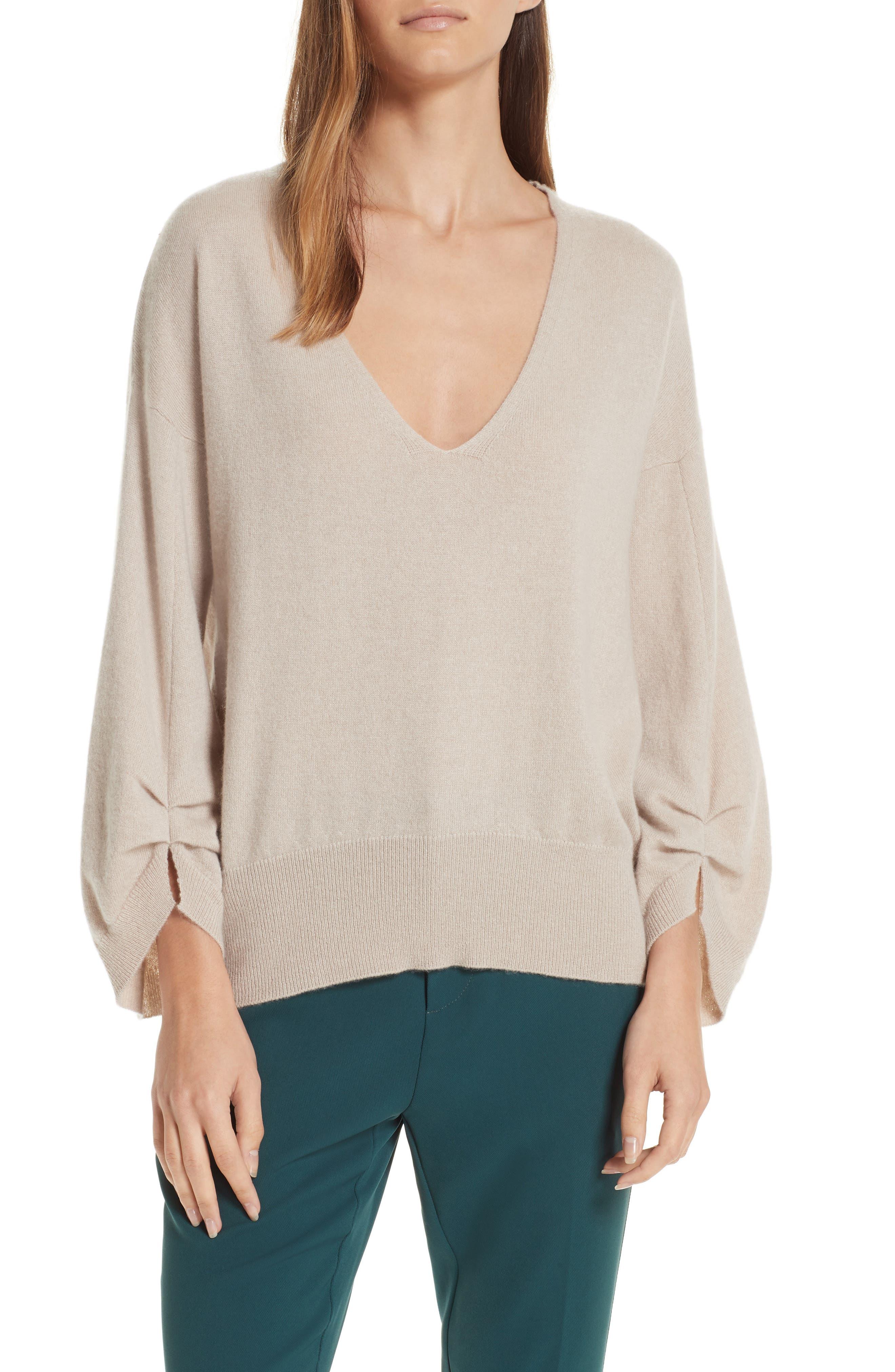 Brochu Walker Casimir Cashmere Pullover Sweater, Beige