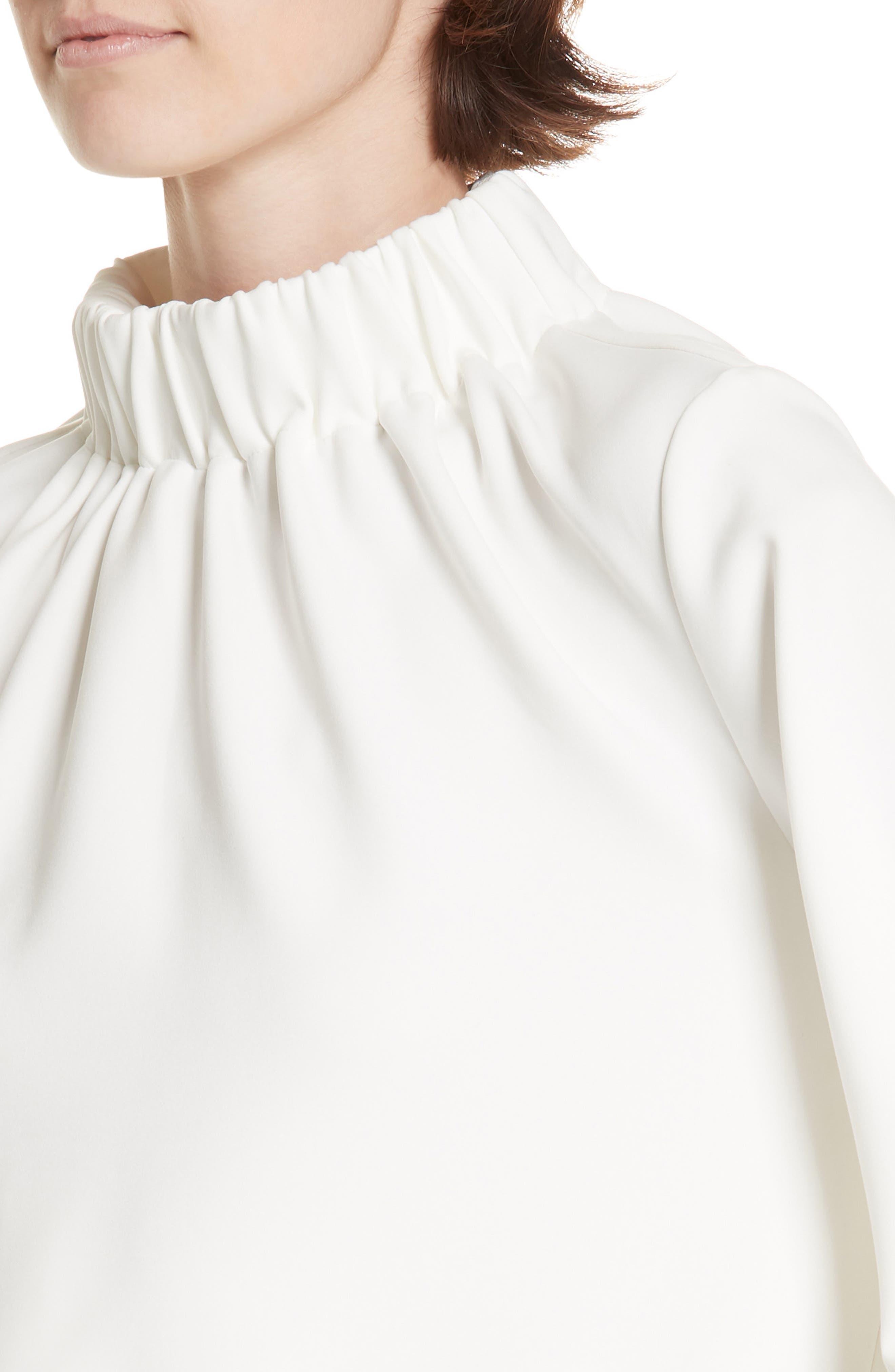 Shirred Neck Top,                             Alternate thumbnail 4, color,                             WHITE