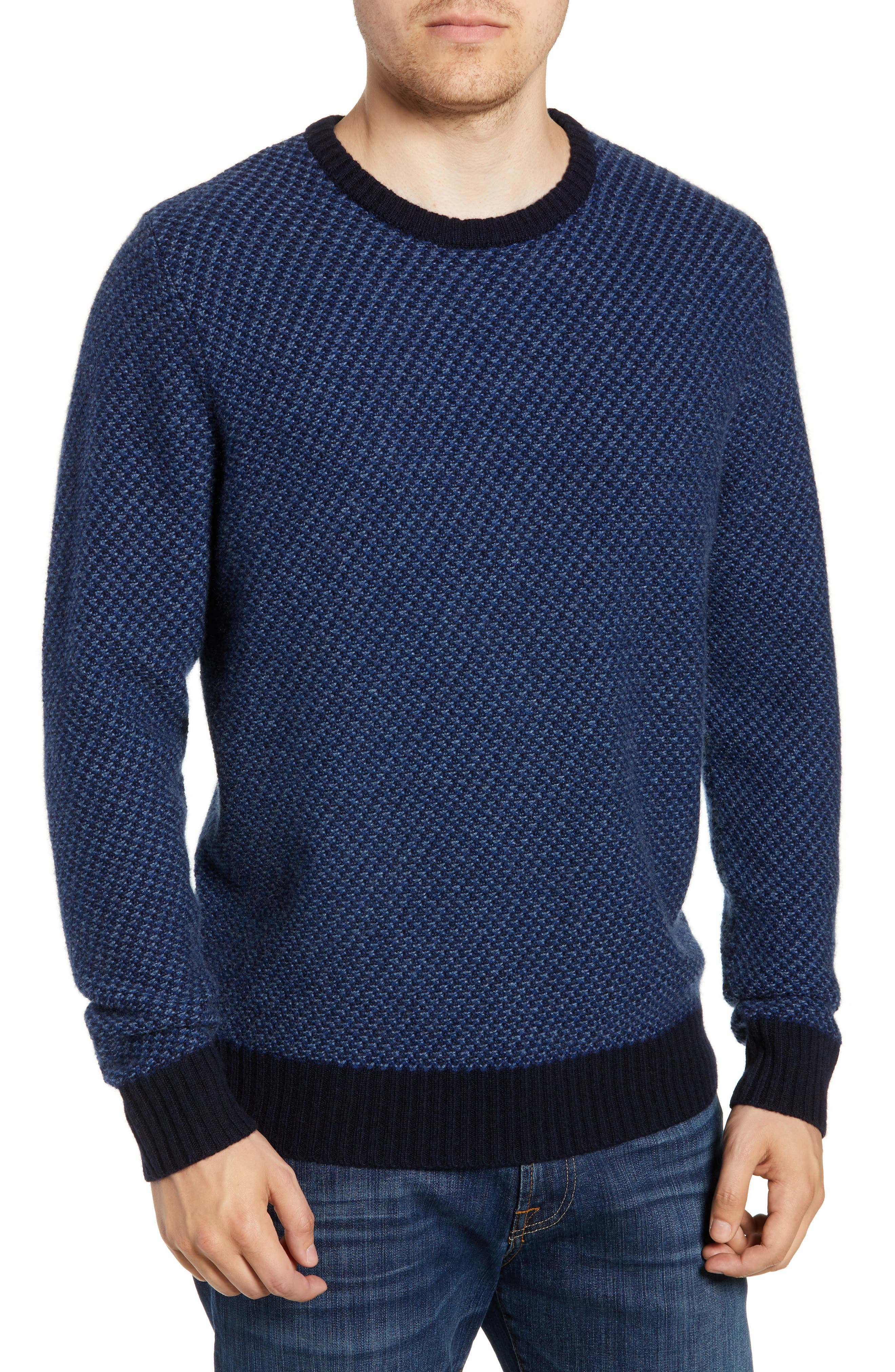 Nordstrom Shop Jacquard Wool & Cashmere Sweater, Blue