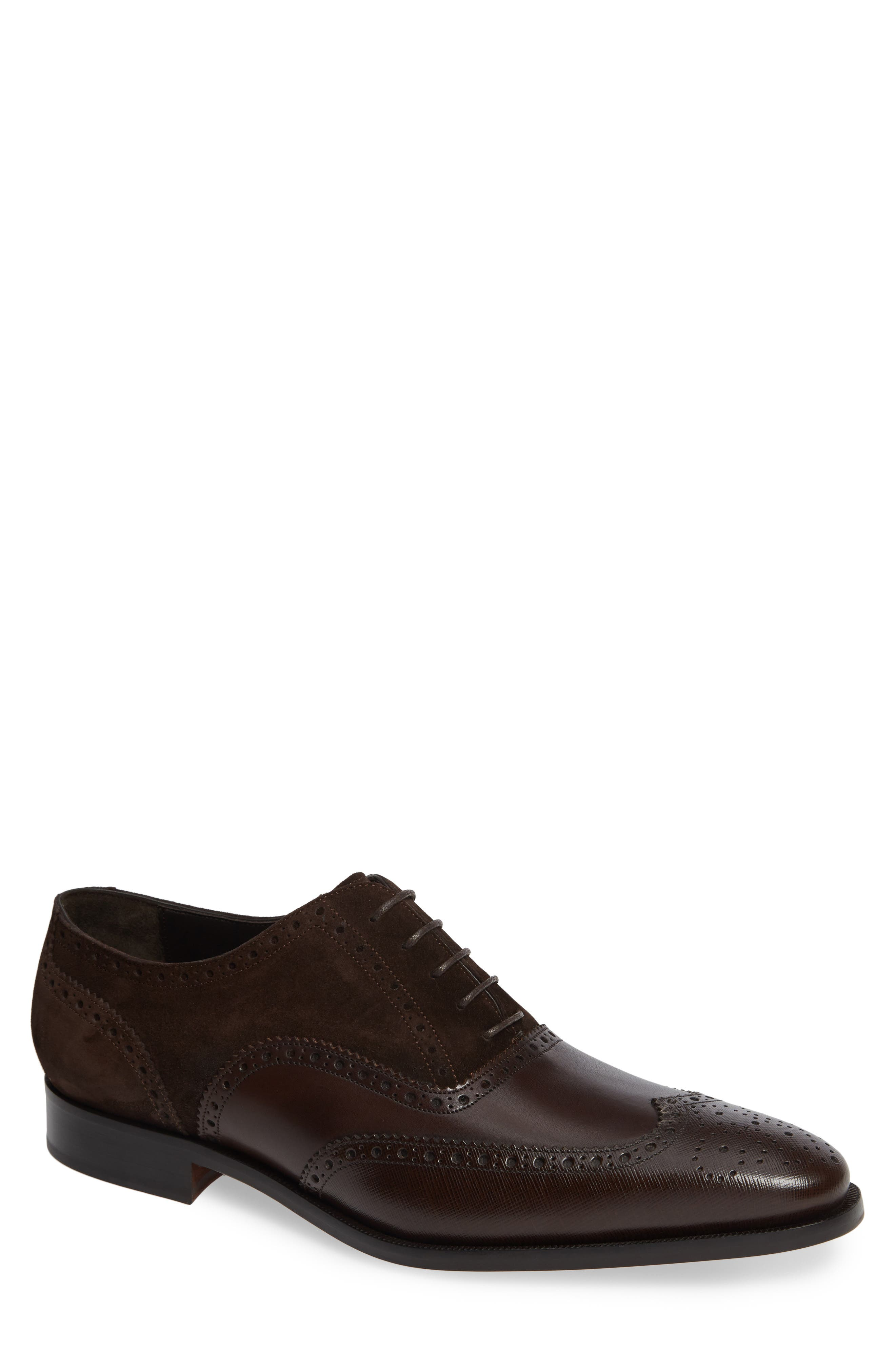 Cologne Wingtip,                             Main thumbnail 1, color,                             BROWN SUEDE/ LEATHER