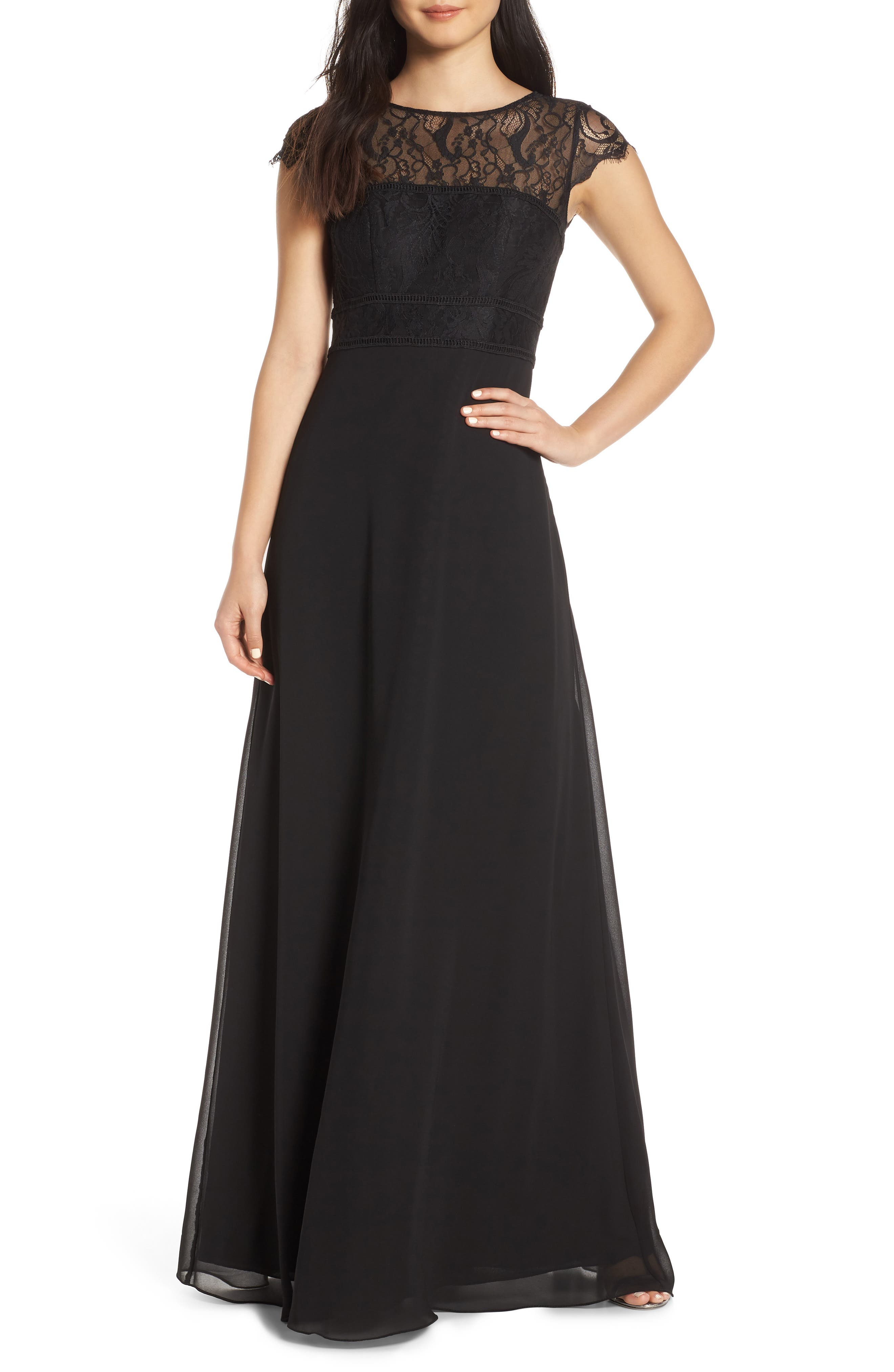 HAYLEY PAIGE OCCASIONS,                             Lace Bodice Chiffon Evening Dress,                             Main thumbnail 1, color,                             BLACK / BLACK