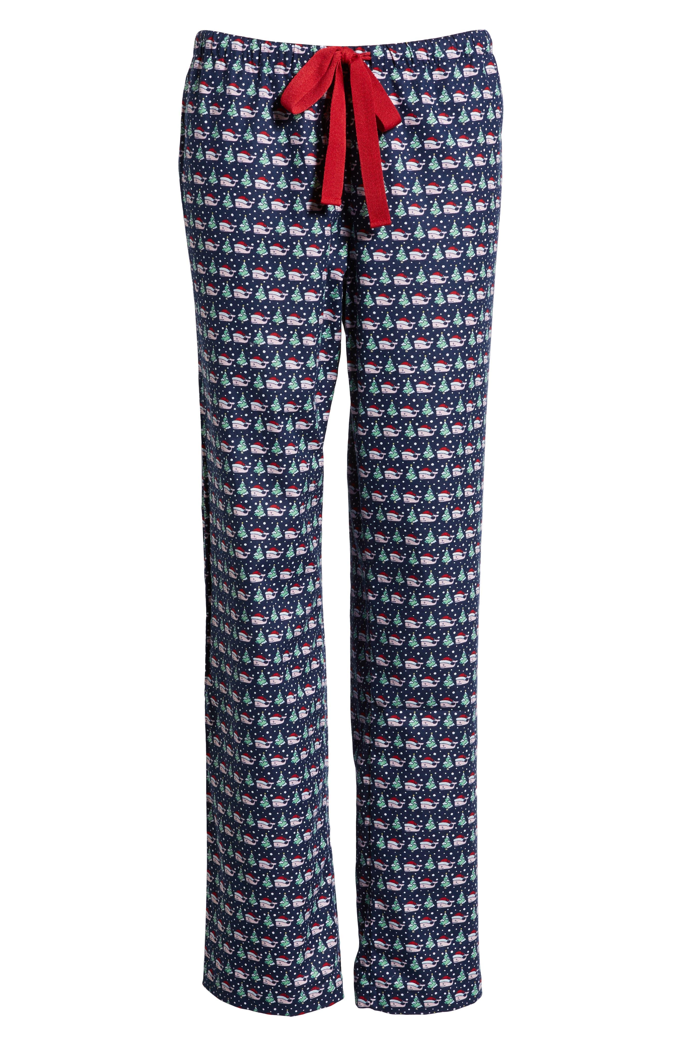 Santa Whale Lounge Pants,                             Alternate thumbnail 6, color,                             DEEP BAY