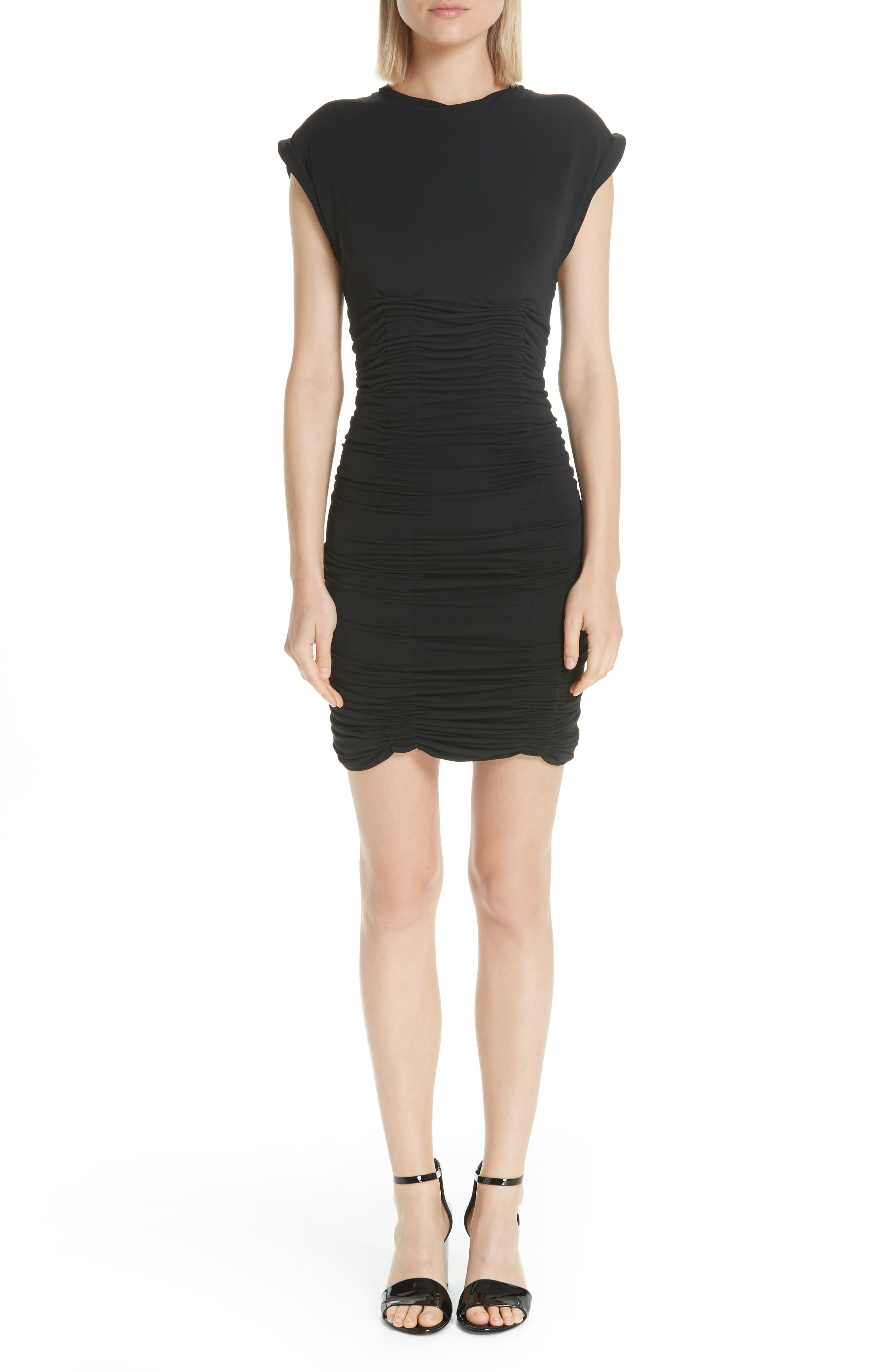 Alexander Wang Ruched Jersey Minidress, Black