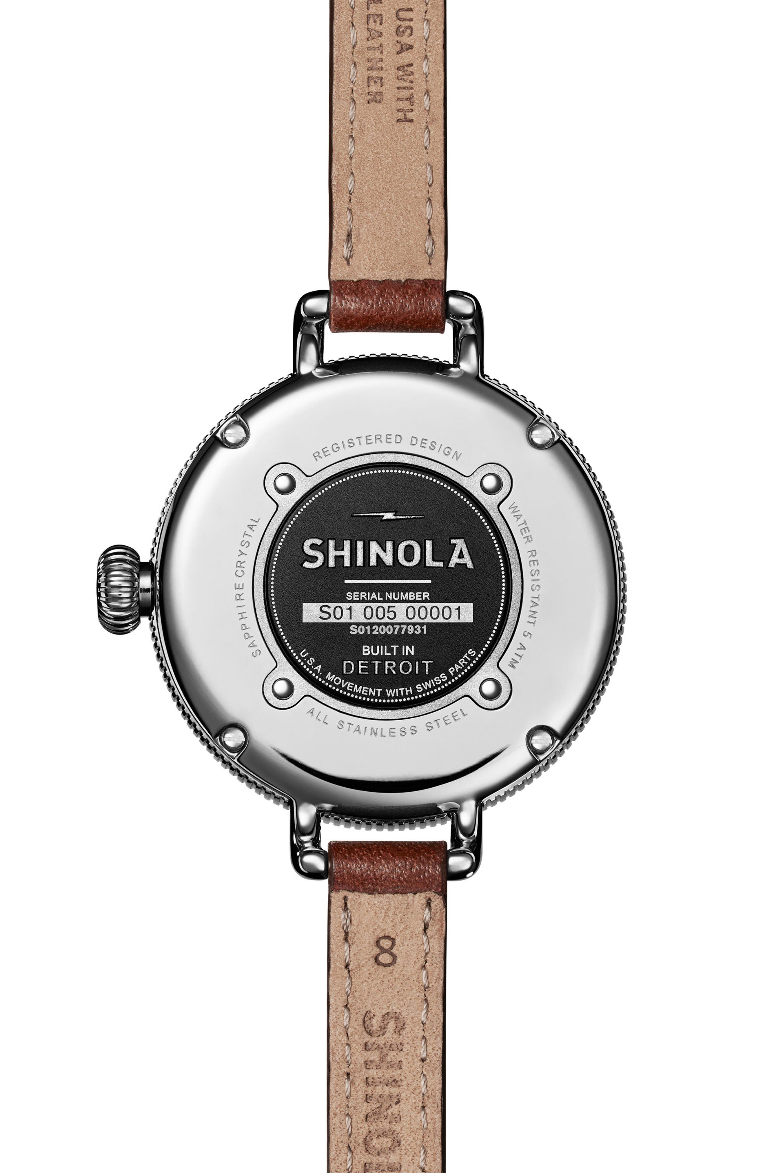 The Birdy Leather Strap Watch, 34mm,                             Alternate thumbnail 2, color,                             BROWN/ GREY/ SILVER