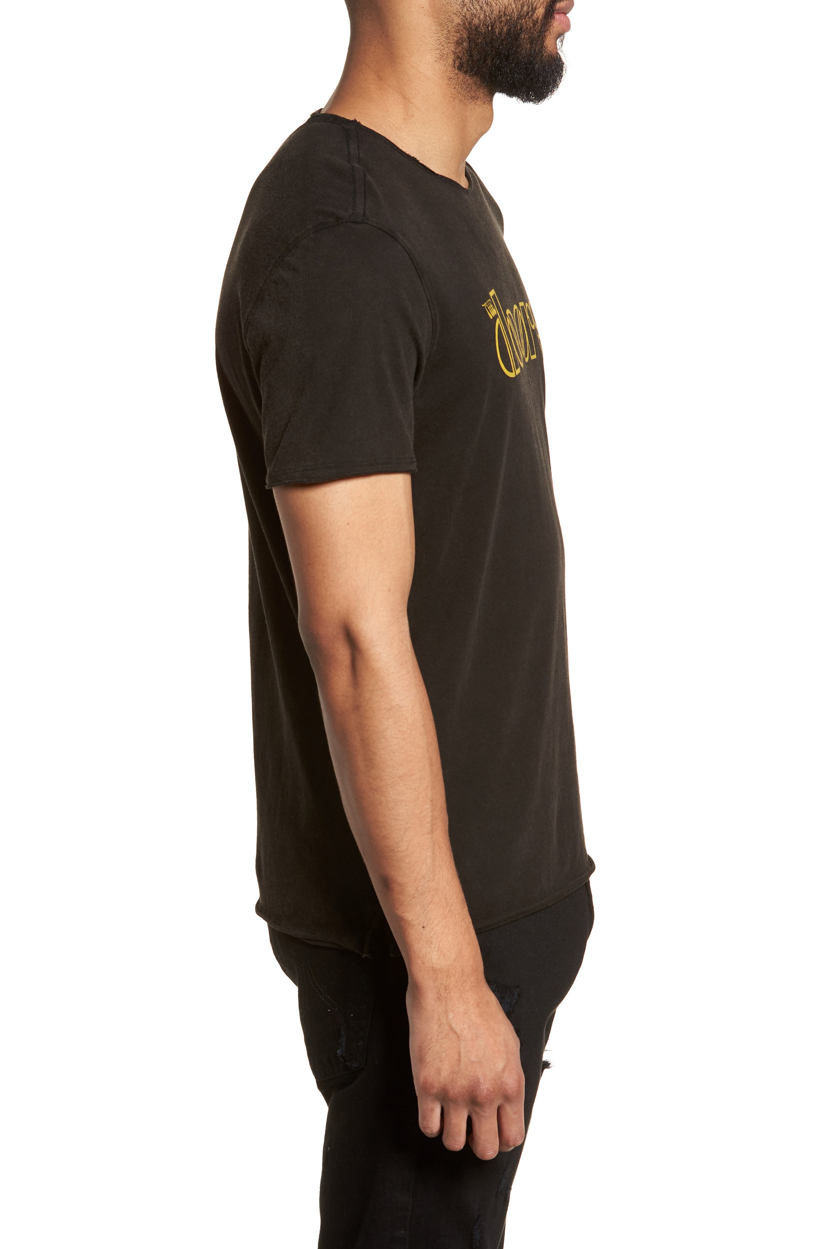 Doors Crewneck T-Shirt,                             Alternate thumbnail 3, color,                             BLACK