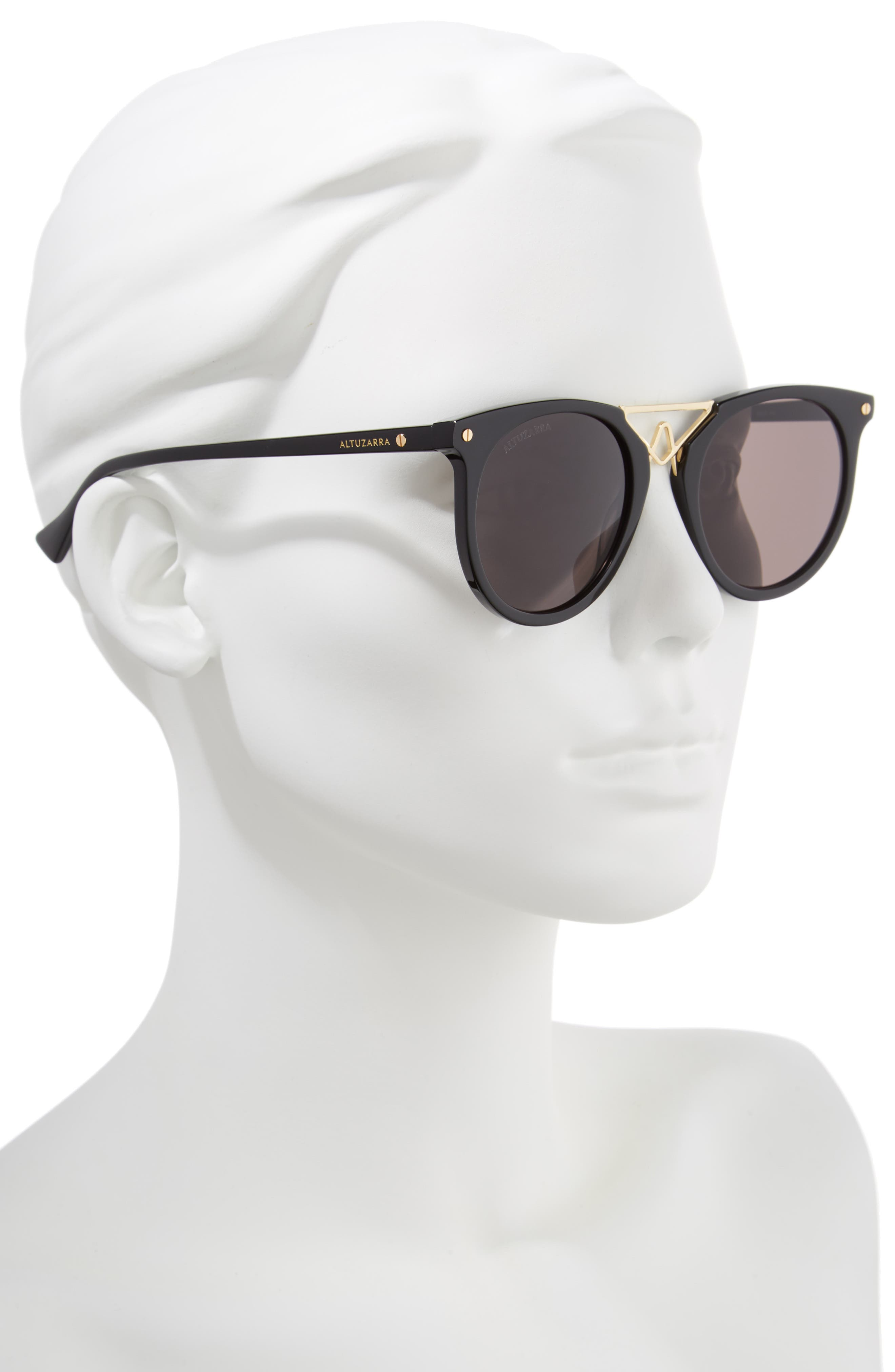 50mm Round Sunglasses,                             Alternate thumbnail 2, color,                             BLACK/ GOLD