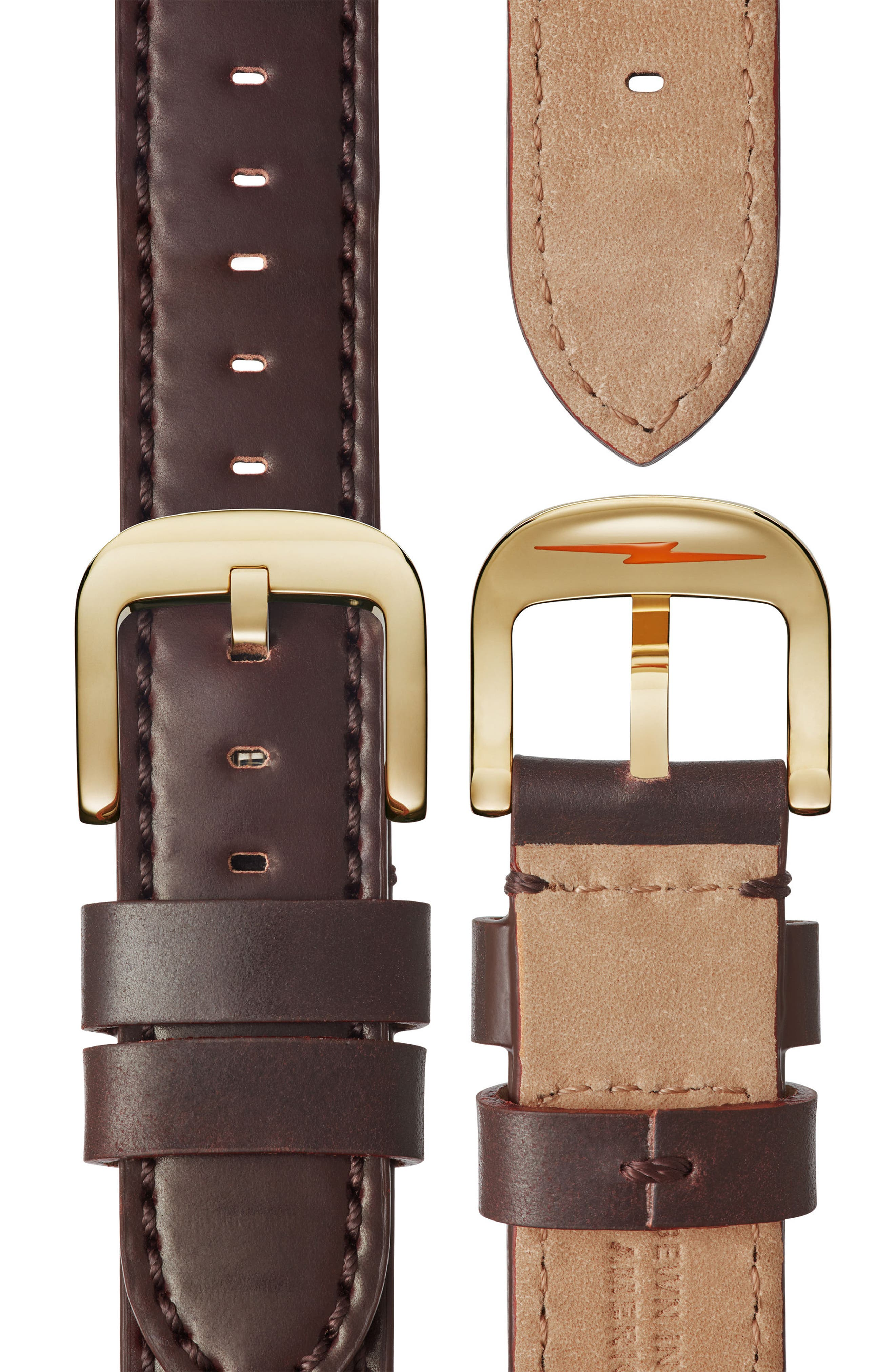 Bedrock Chronograph Leather Strap Watch, 42mm,                             Alternate thumbnail 4, color,                             BROWN/ GOLD