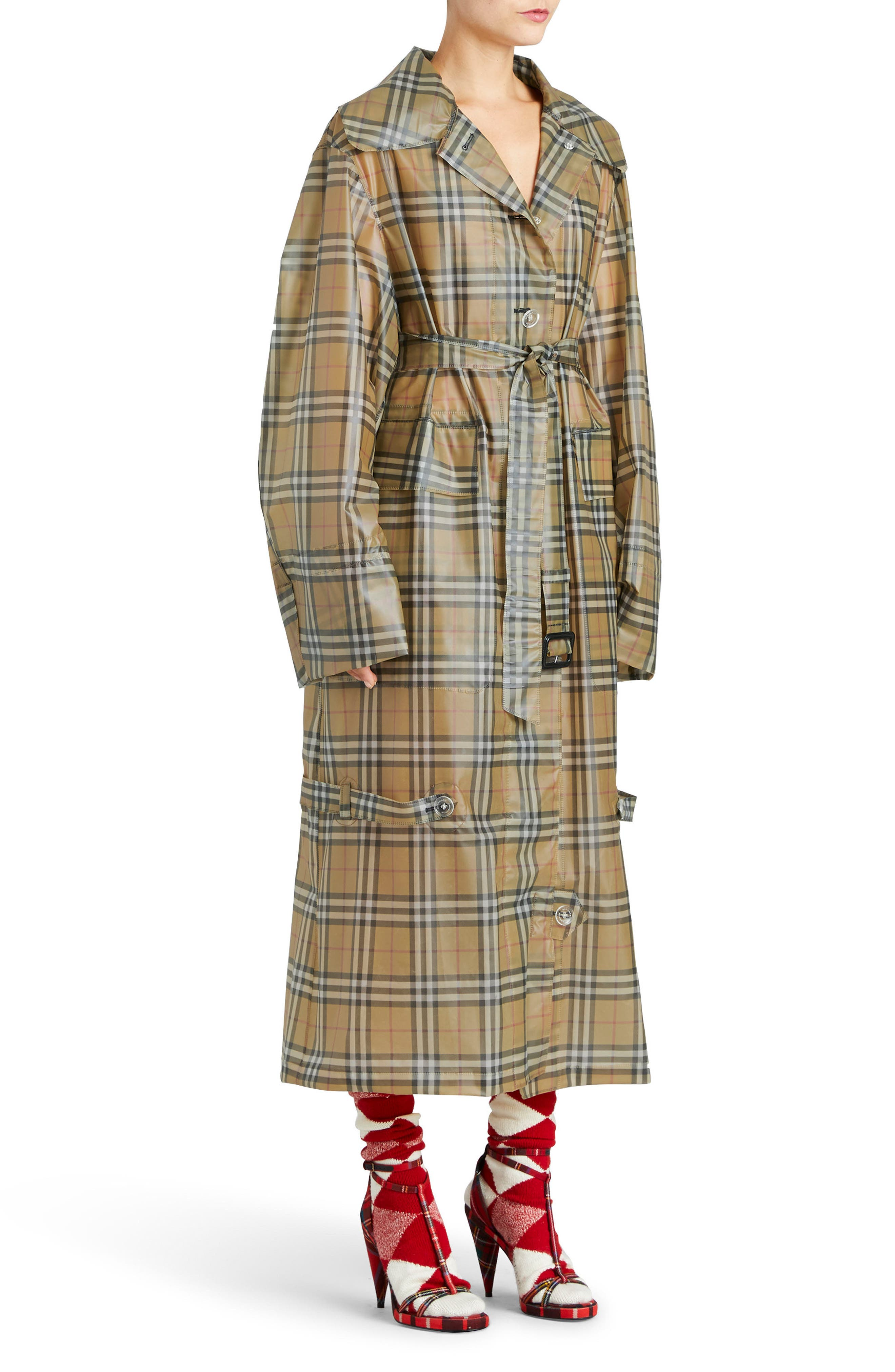 Vintage Check Plastic Trench Coat,                         Main,                         color, 704