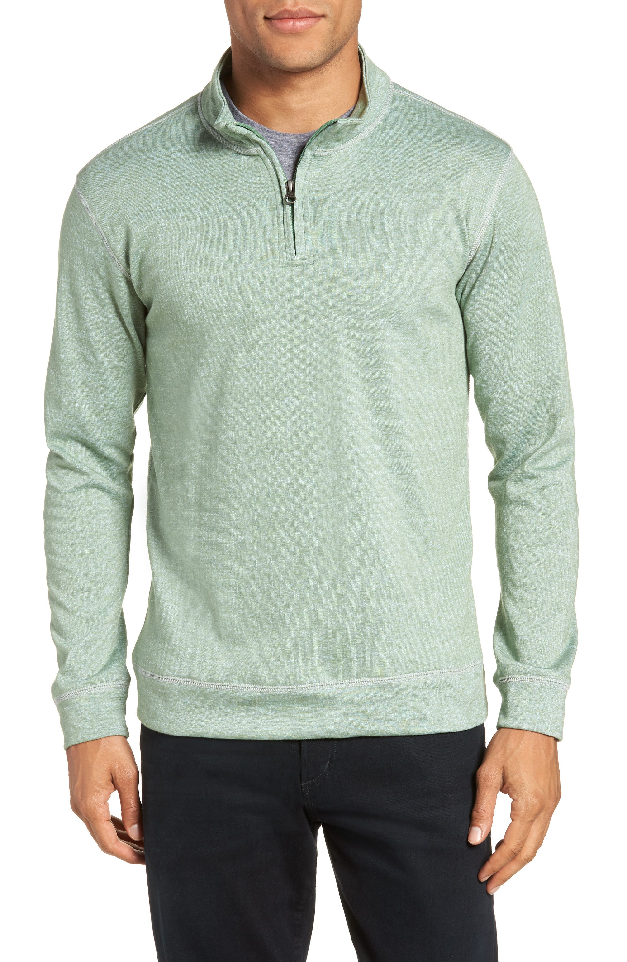 French Terry Quarter Zip Shirt,                         Main,                         color, HEDGE