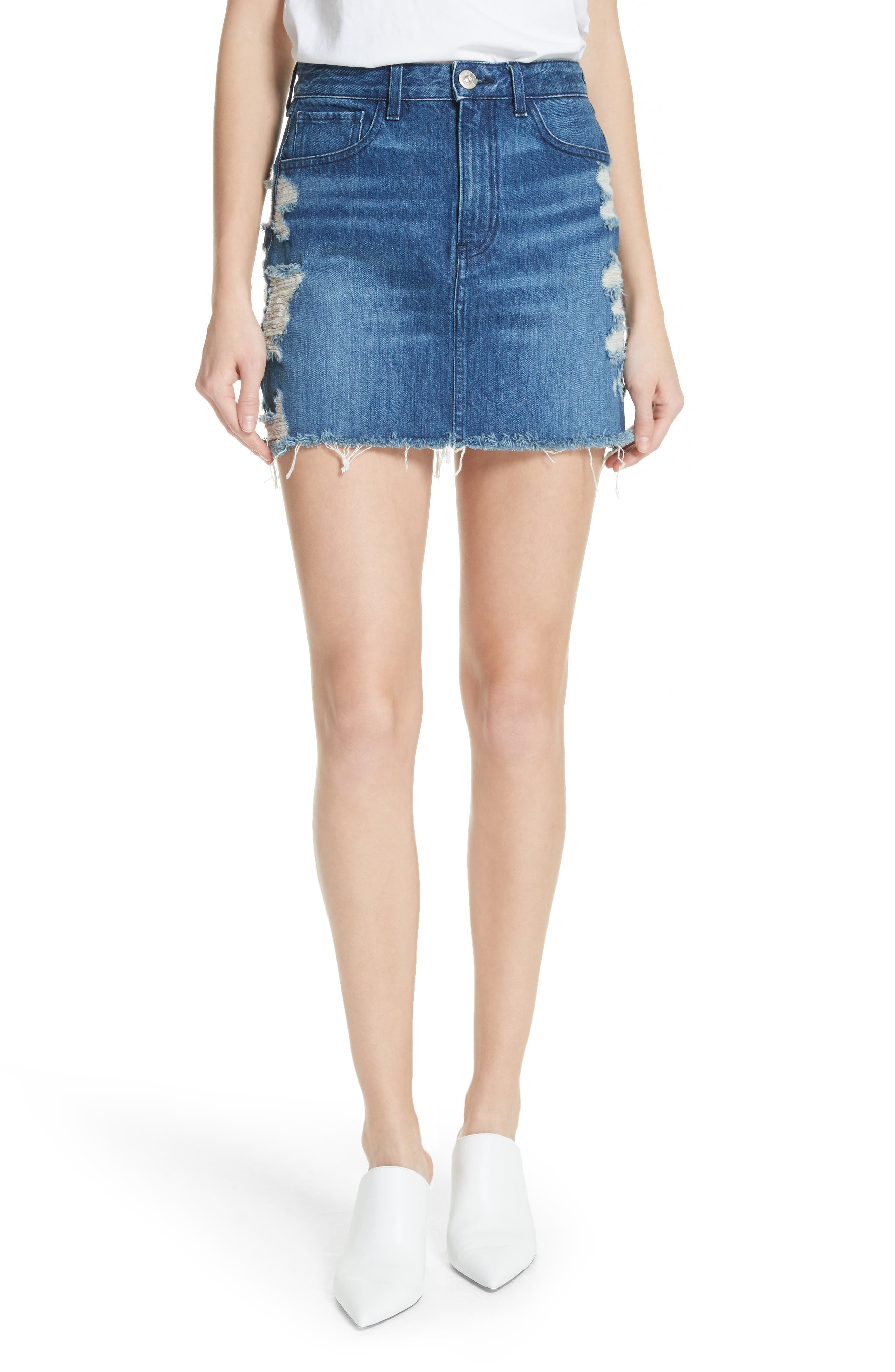 Celine Distressed Denim Skirt,                             Main thumbnail 1, color,                             404