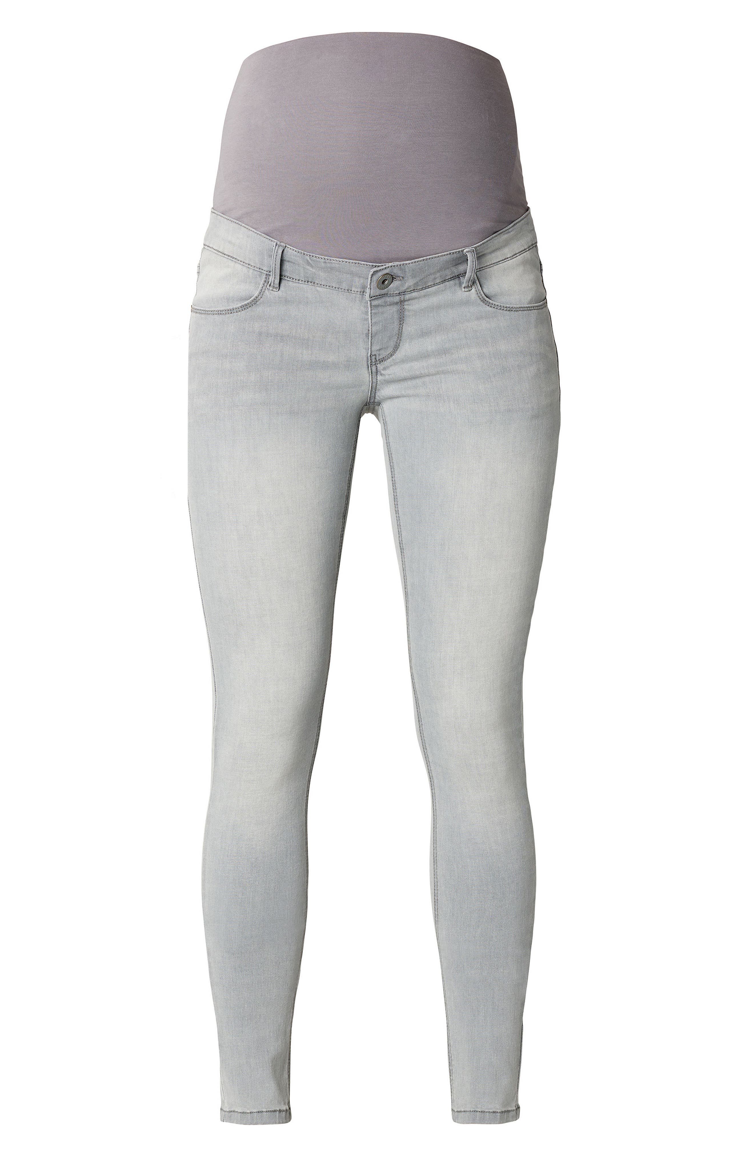 Iva Skinny Maternity Jeans,                             Alternate thumbnail 3, color,                             GREY