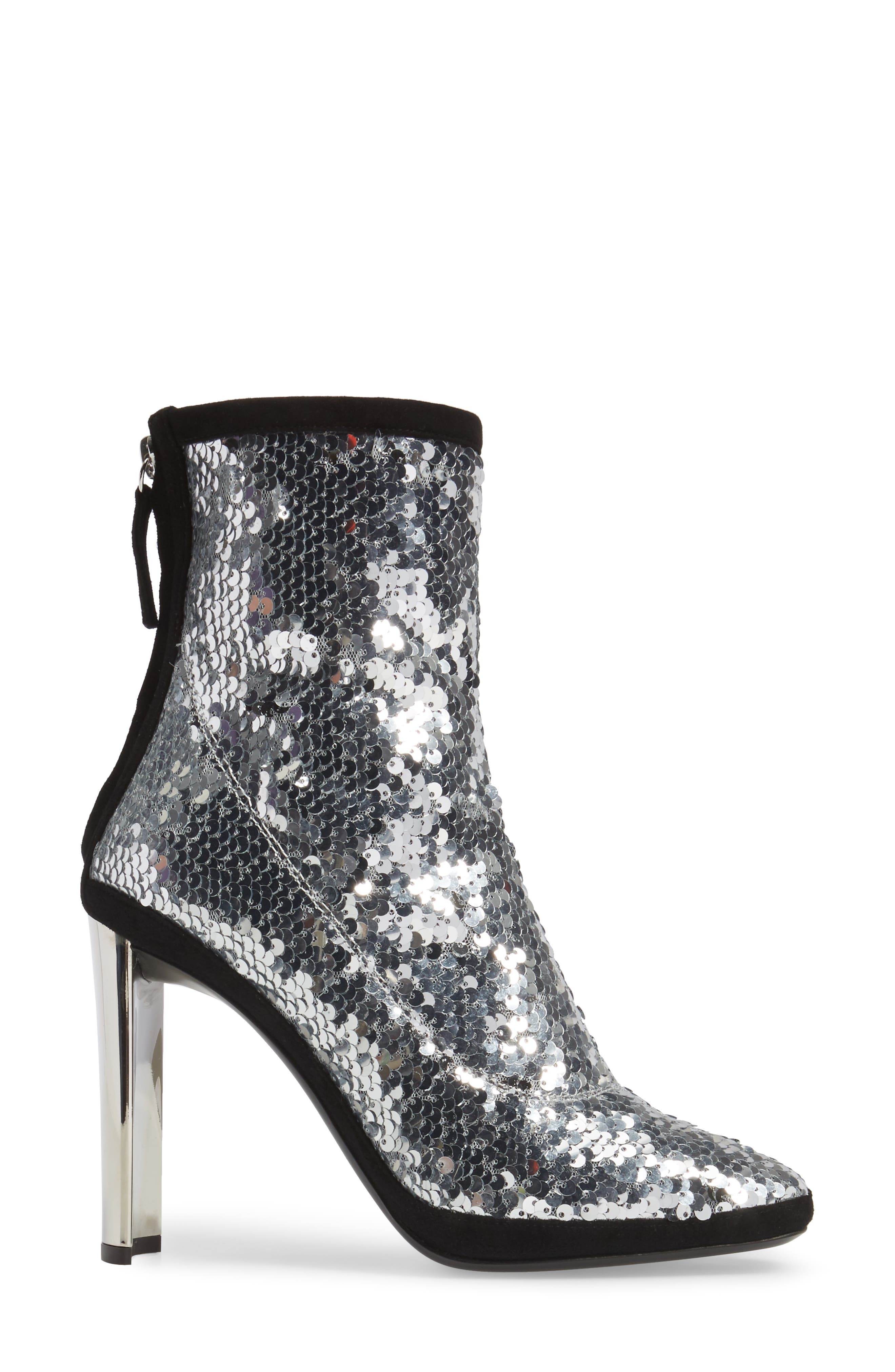 Sequin Curved Heel Bootie,                             Alternate thumbnail 3, color,                             040
