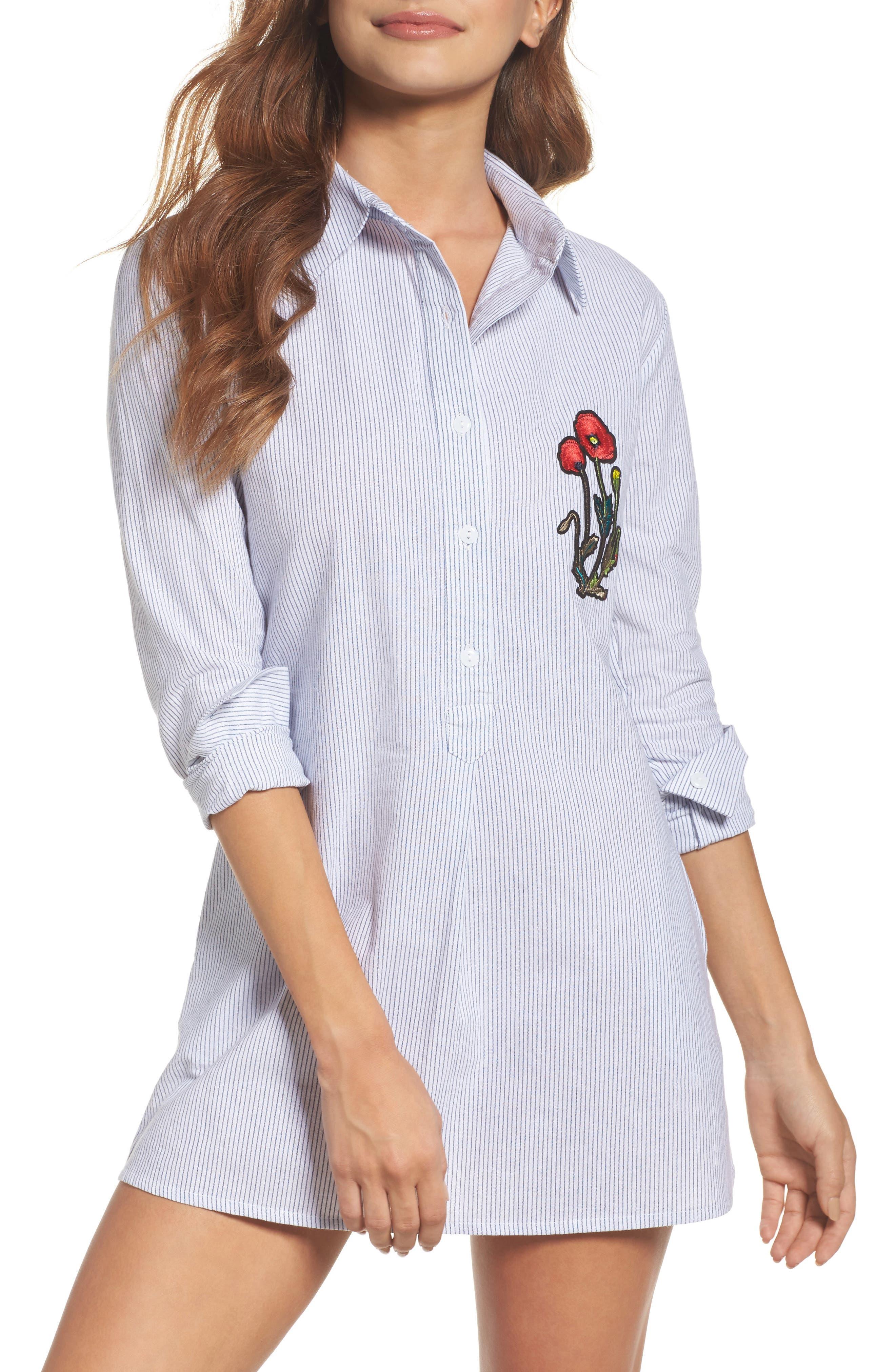 Embroidered Sleep Shirt,                             Main thumbnail 1, color,                             400