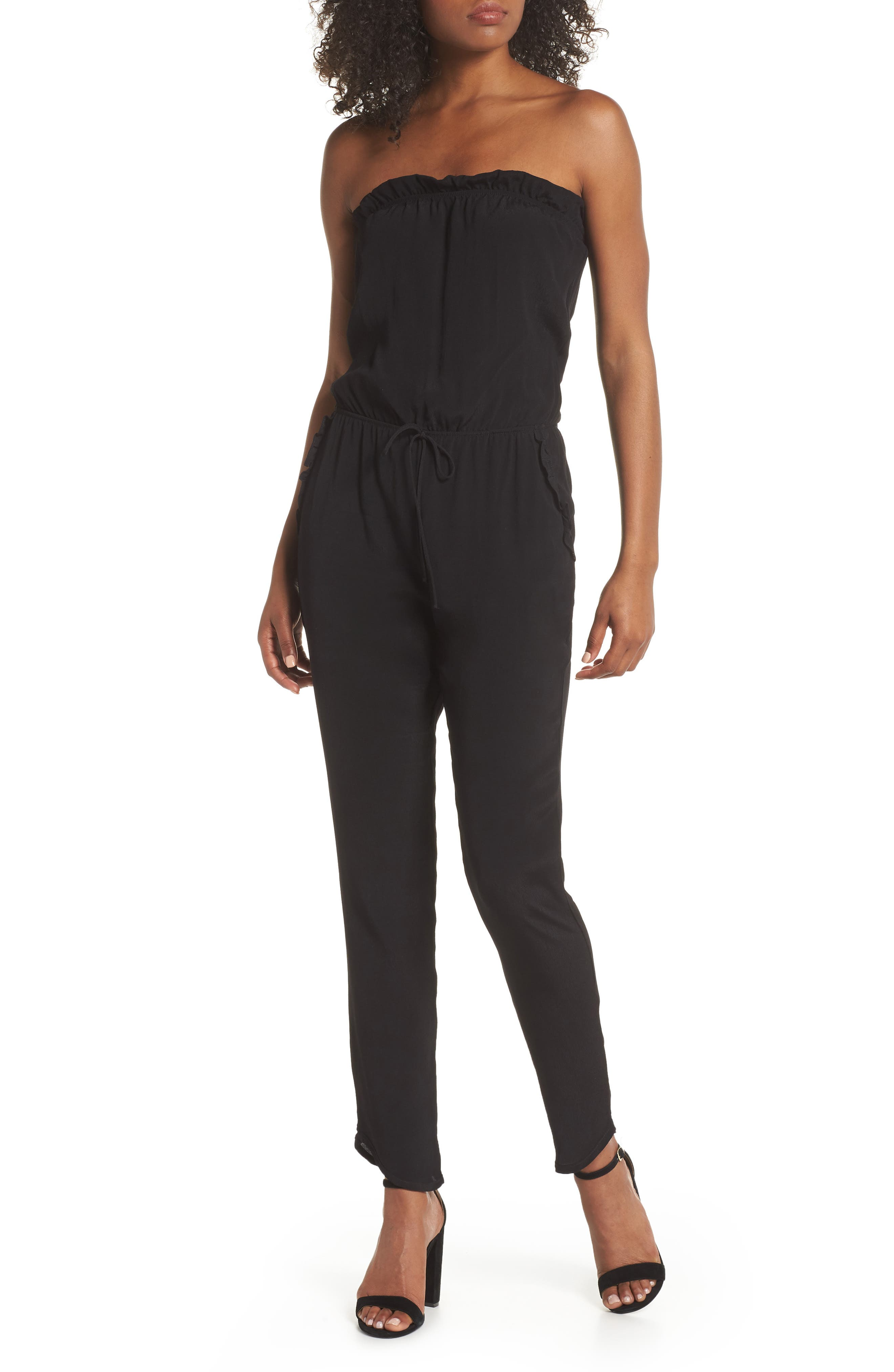 Strapless Jumpsuit,                         Main,                         color, BLACK
