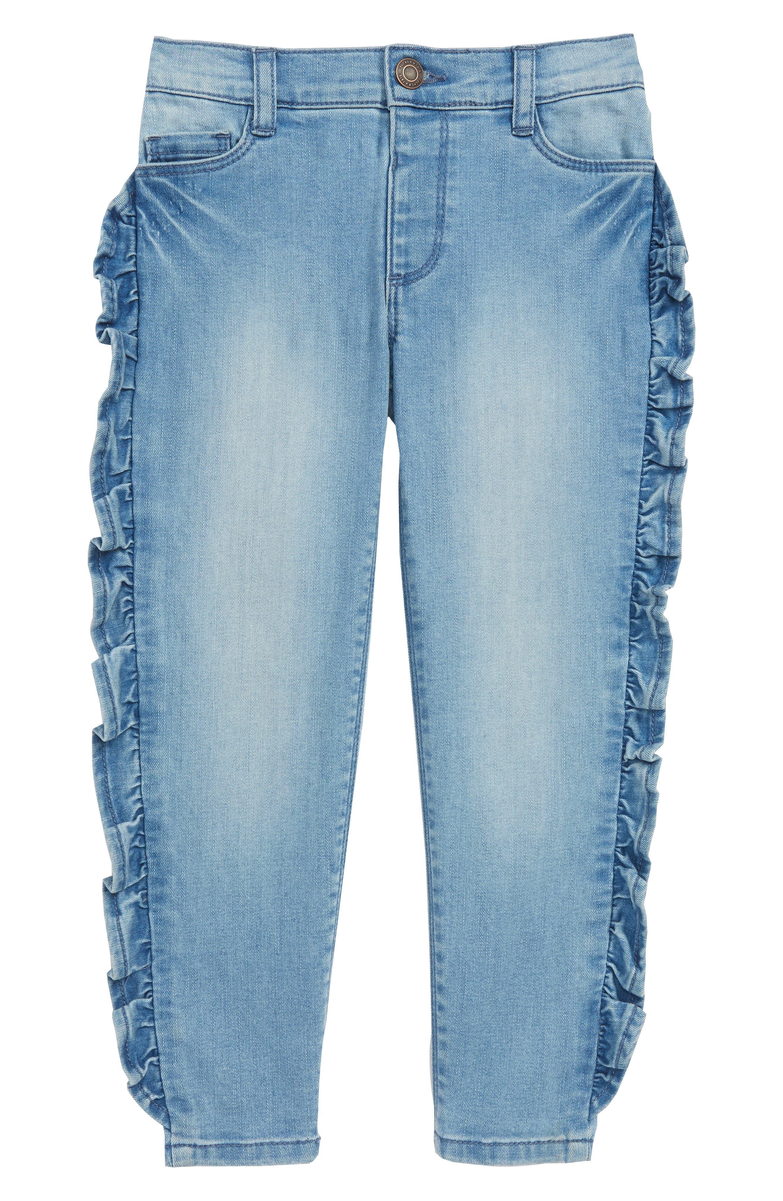 Ruffle Jeans,                             Main thumbnail 1, color,                             RUFFLE SKY WASH