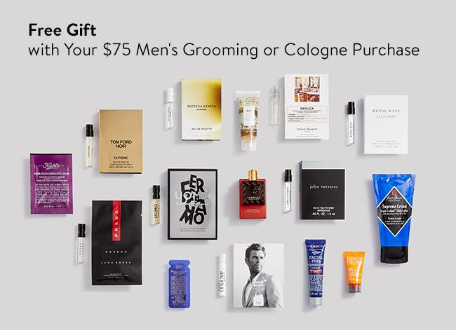 Free gift with your $75 men's grooming or cologne purchase.