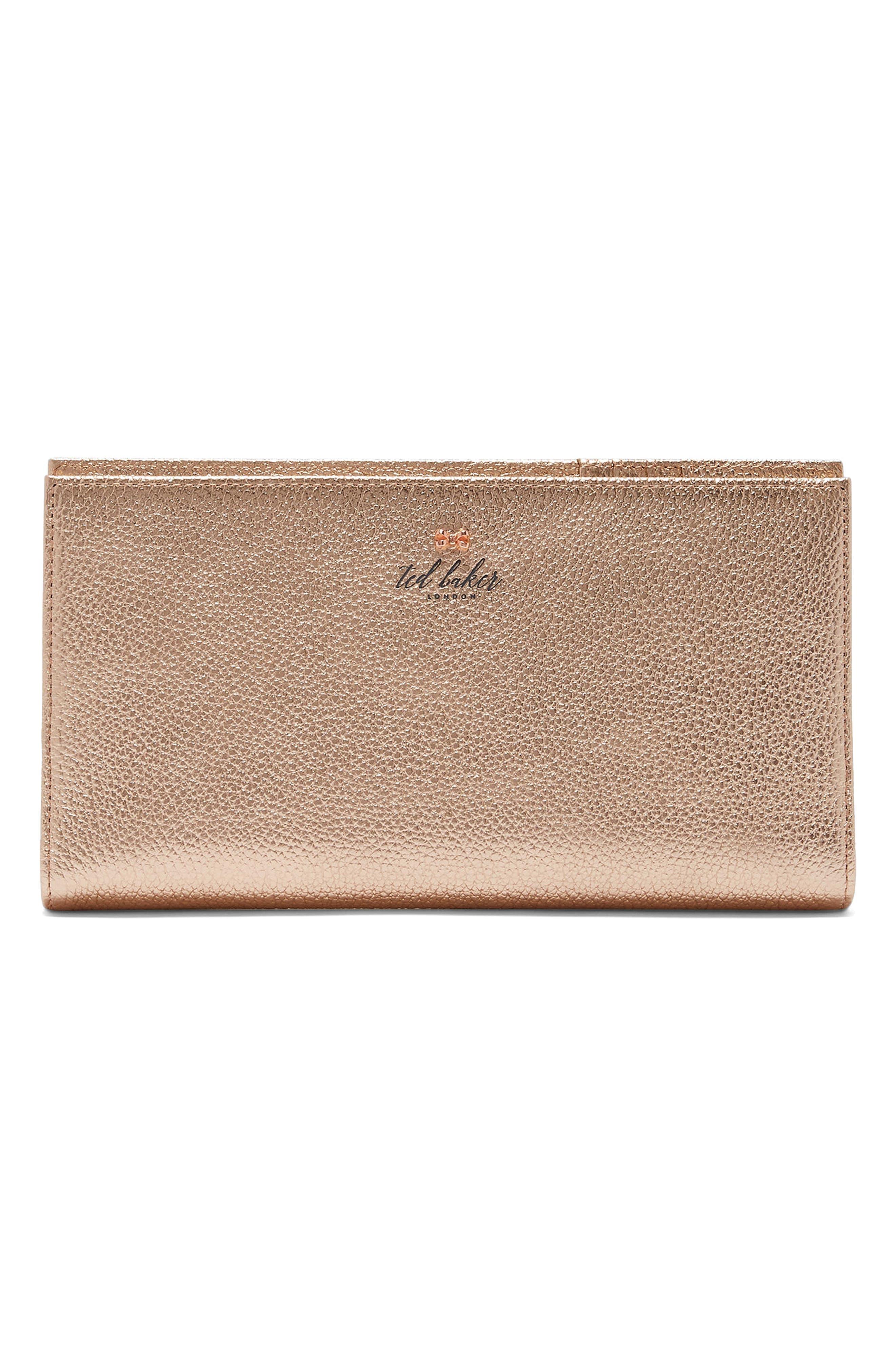 Kayy Metallic Leather Travel Wallet,                             Main thumbnail 3, color,