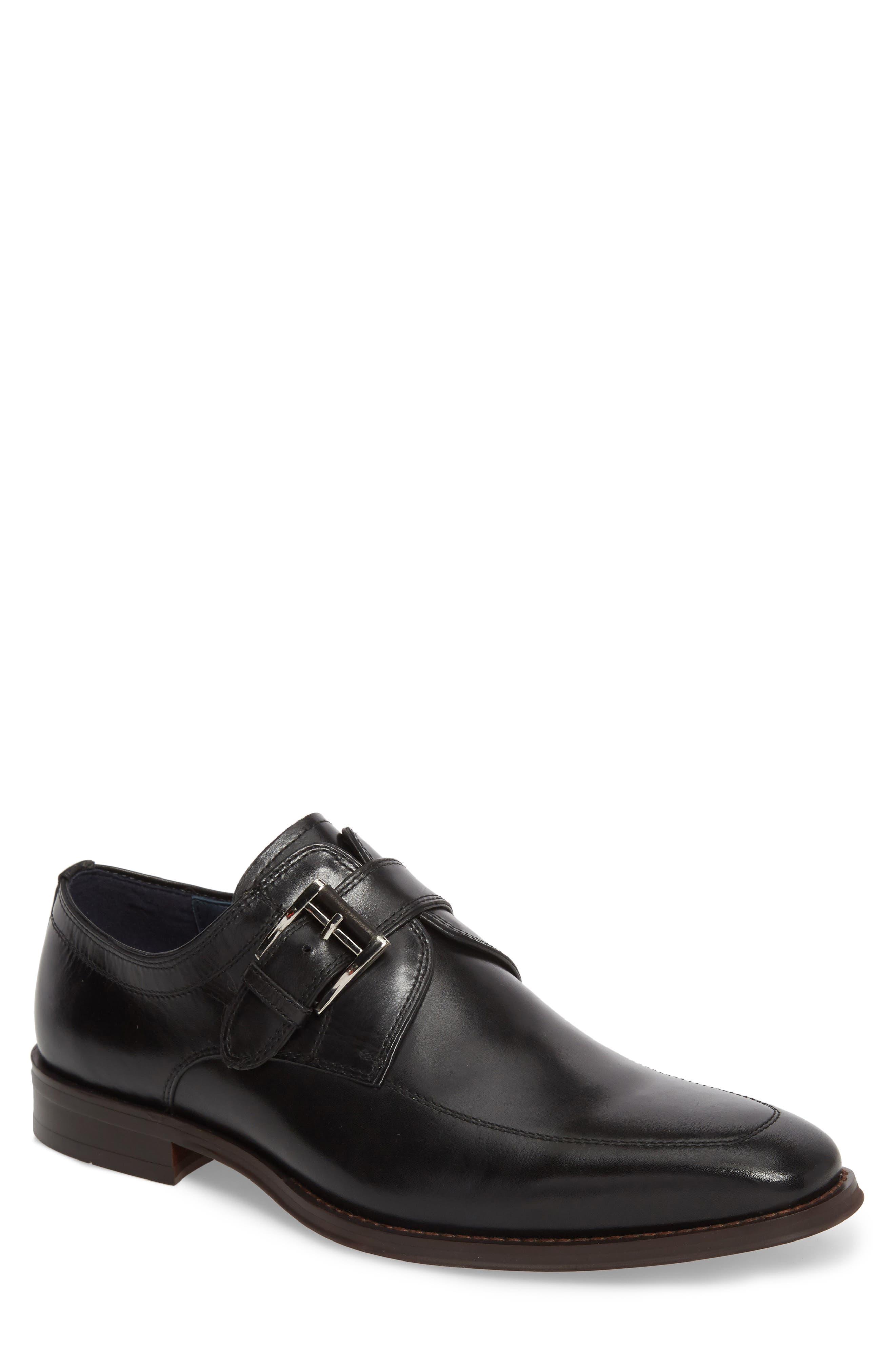 Merlot Single Buckle Monk Shoe,                         Main,                         color, BLACK LEATHER