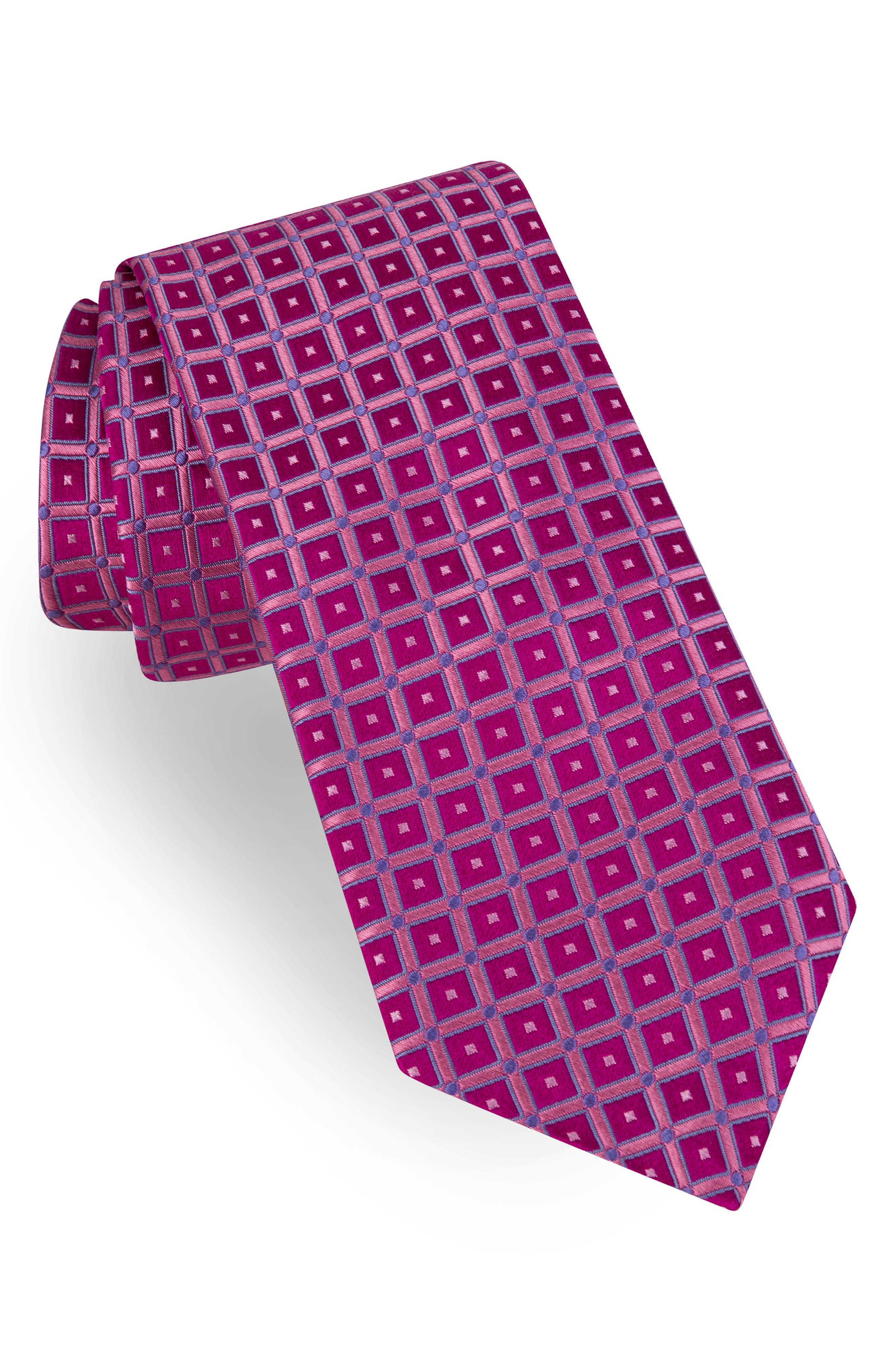 Grid Silk Tie,                             Main thumbnail 2, color,