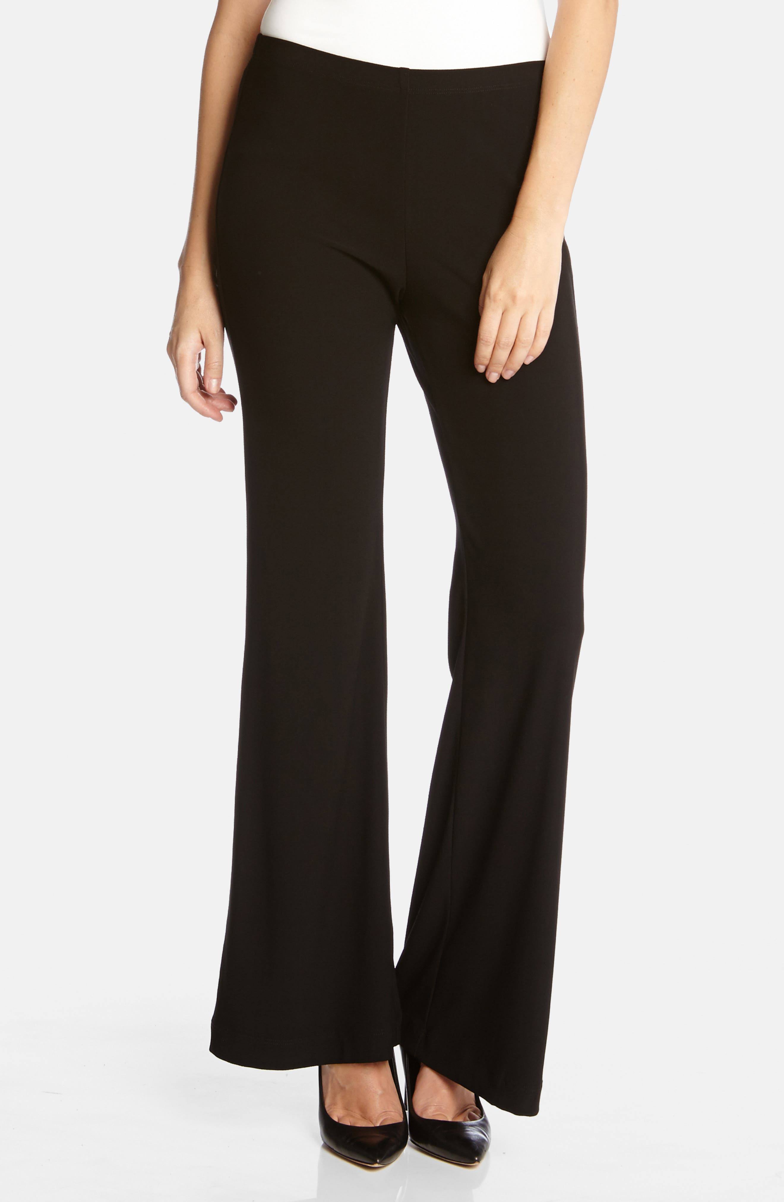Wide Leg Crepe Pants,                             Alternate thumbnail 3, color,                             BLACK