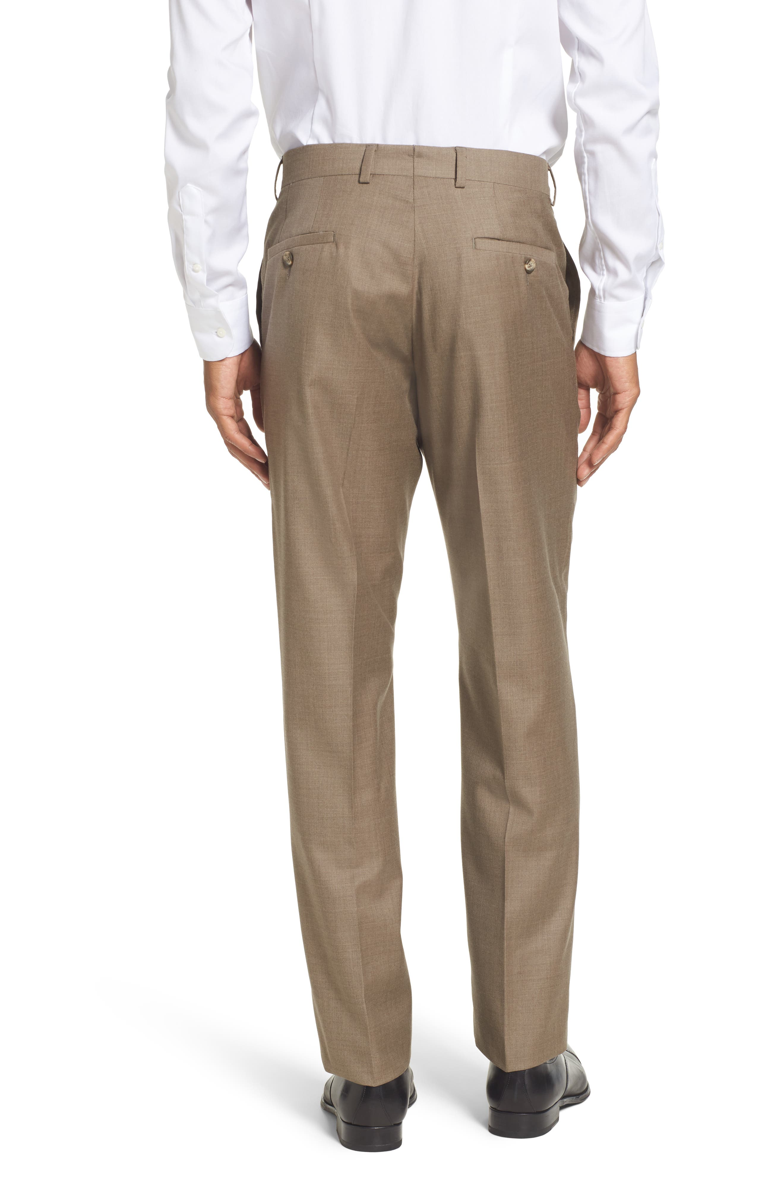 Flat Front Solid Wool Trousers,                             Alternate thumbnail 17, color,