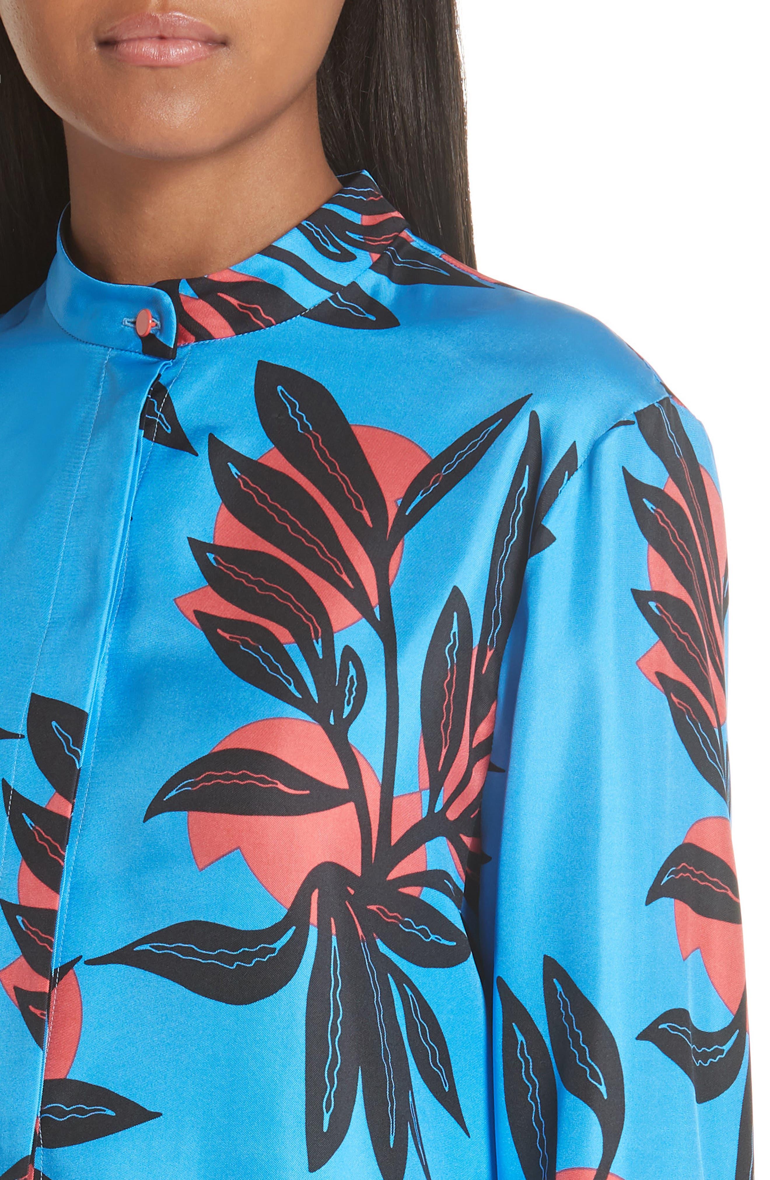 Imani Floral Print Silk Shirt,                             Alternate thumbnail 4, color,