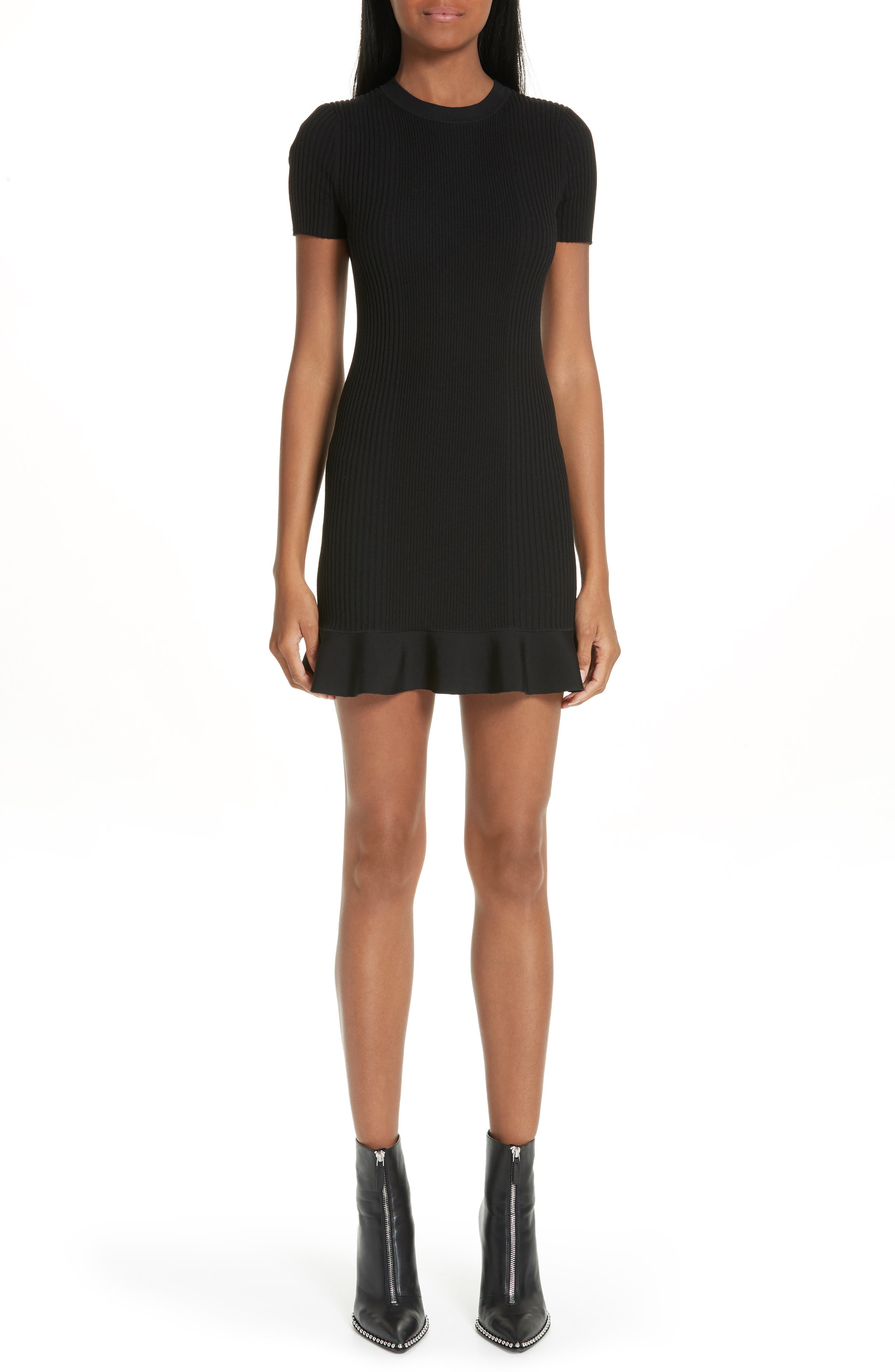 Alexander Wang Ruffle Hem Ribbed Dress, Black