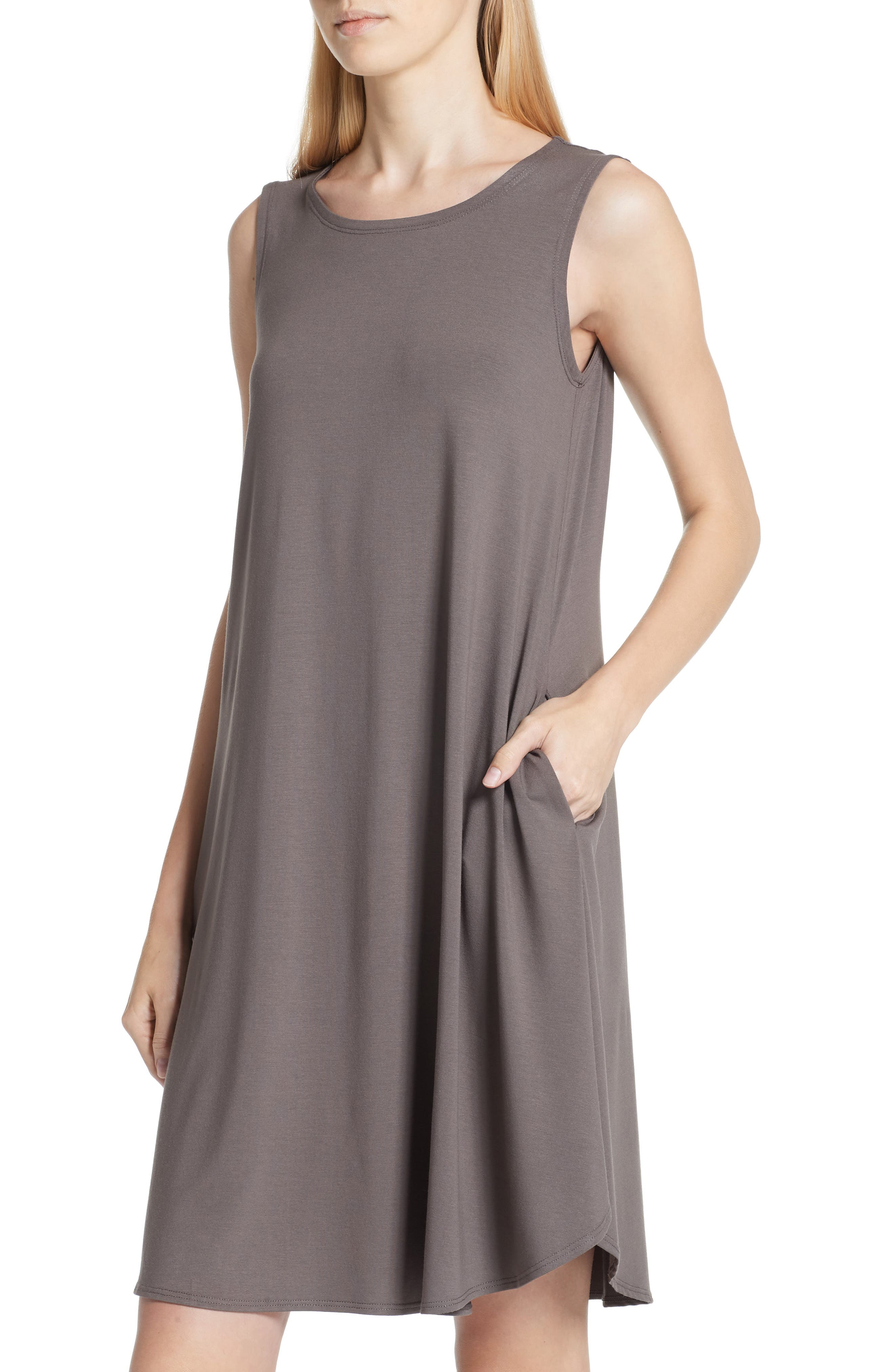 EILEEN FISHER,                             Jersey Jewel Neck Flare Dress,                             Alternate thumbnail 4, color,                             245