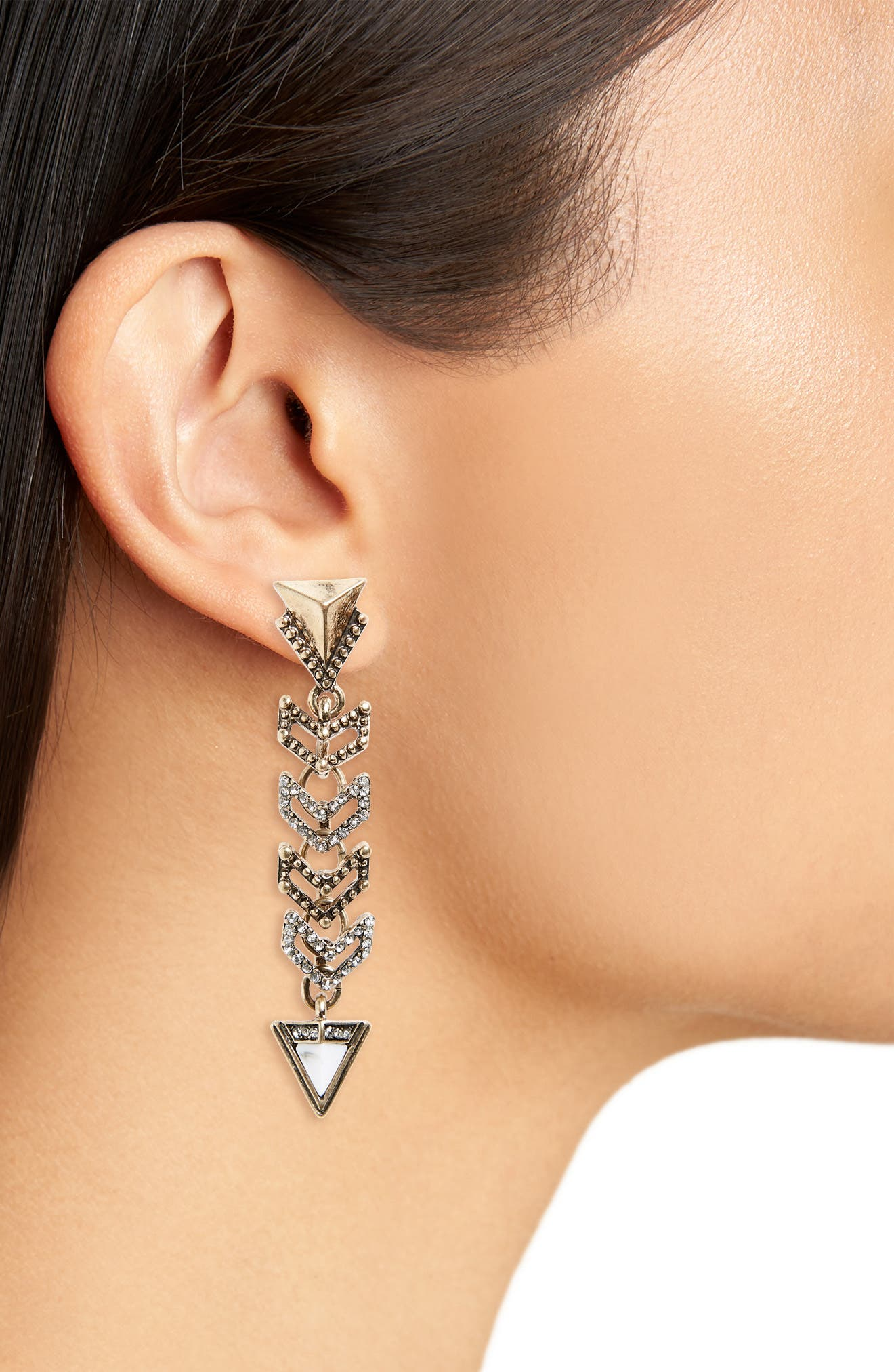 Crystal Triangle Linear Statement Earrings,                             Alternate thumbnail 2, color,                             001