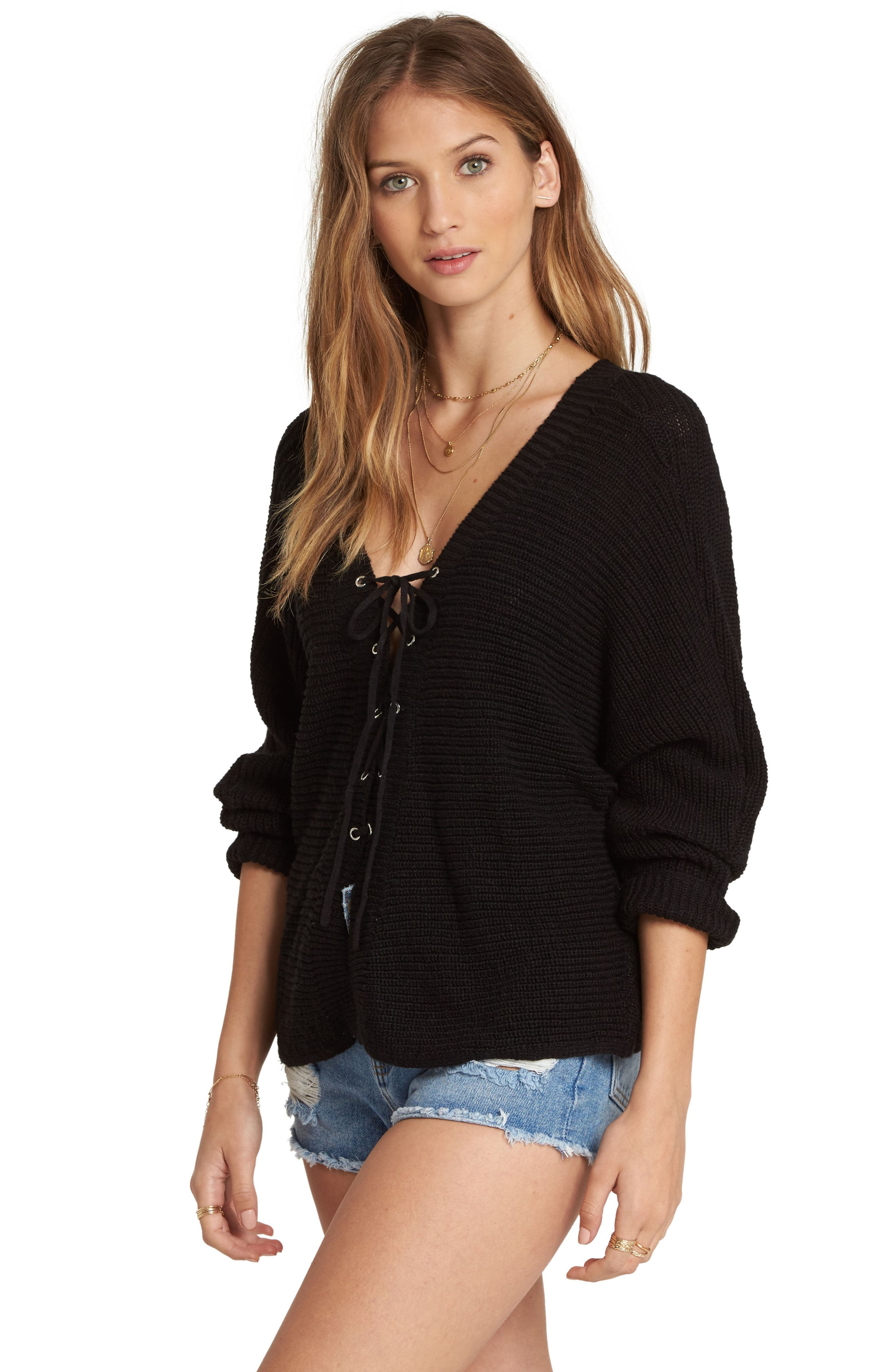 Lace-Up Sweater,                             Alternate thumbnail 3, color,                             001