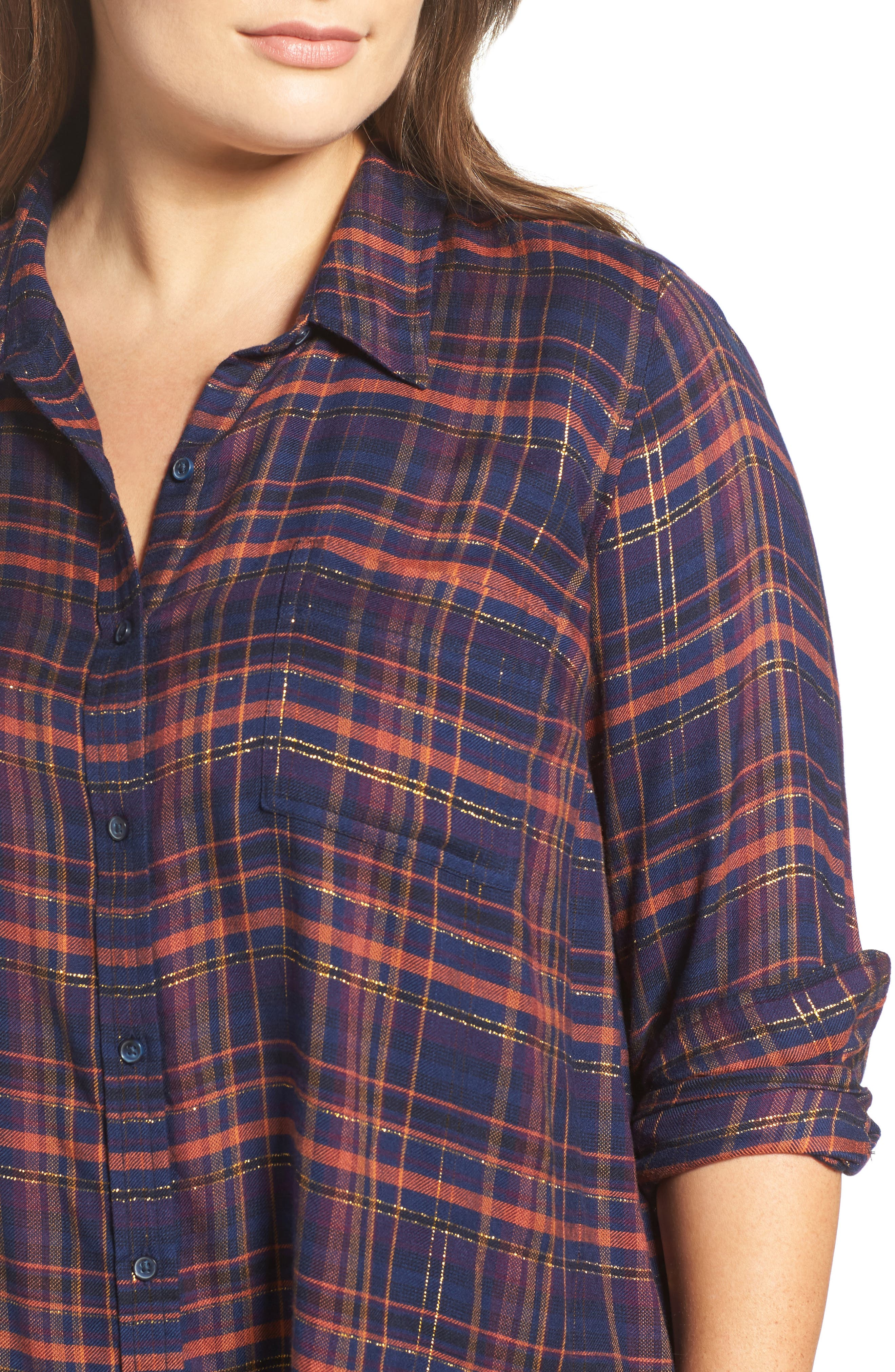 Back Overlay Plaid Shirt,                             Alternate thumbnail 5, color,                             460