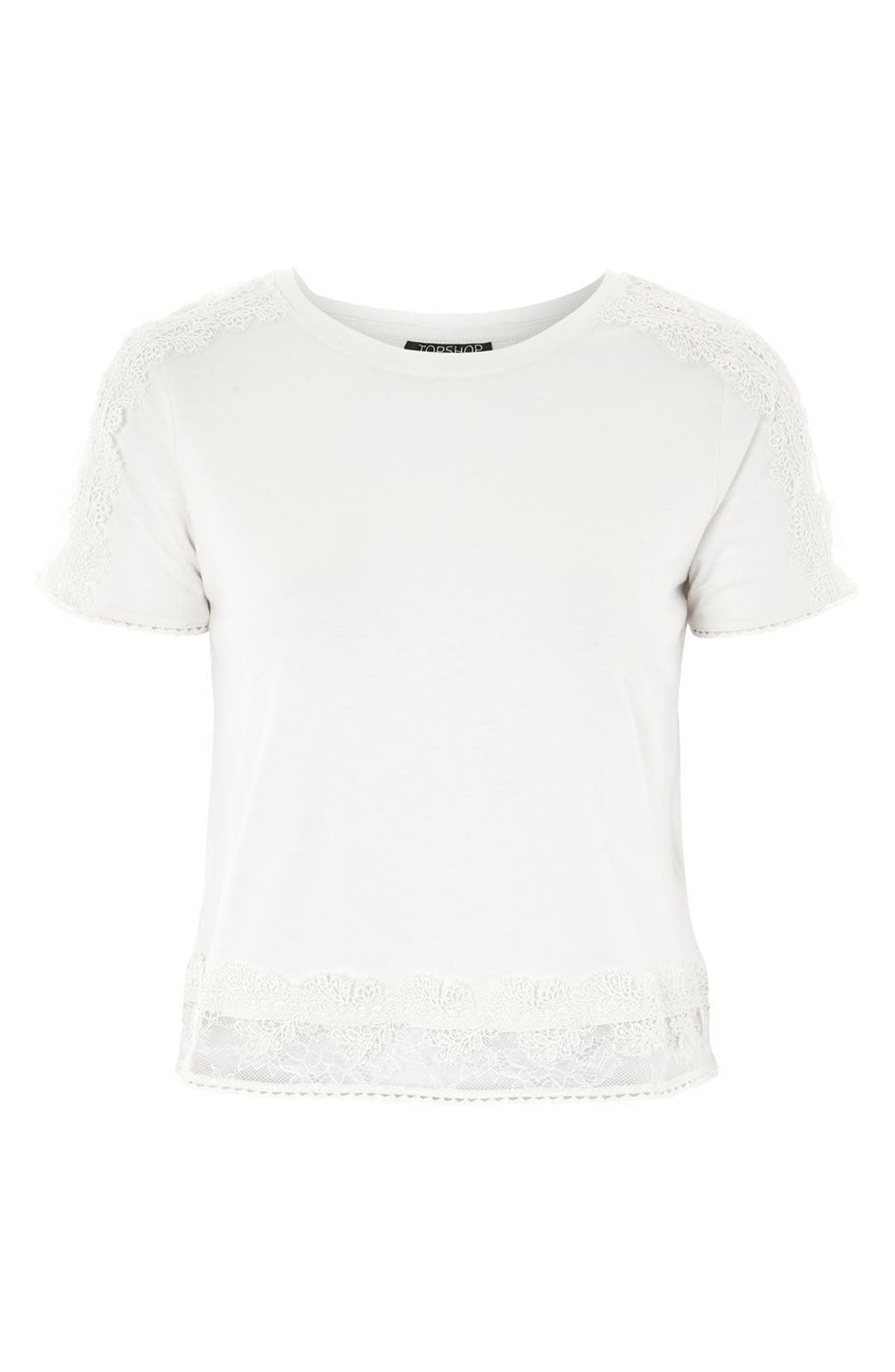 TOPSHOP,                             Lace Trim Tee,                             Alternate thumbnail 4, color,                             900