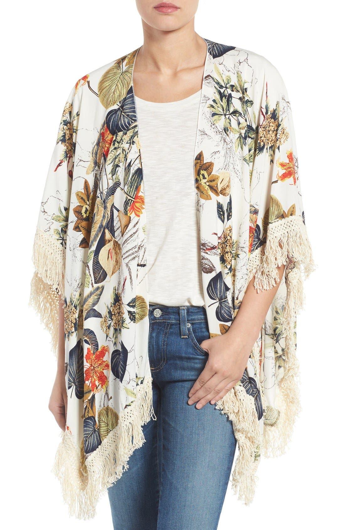 ROFFE ACCESSORIES Fringe Kimono, Main, color, 111