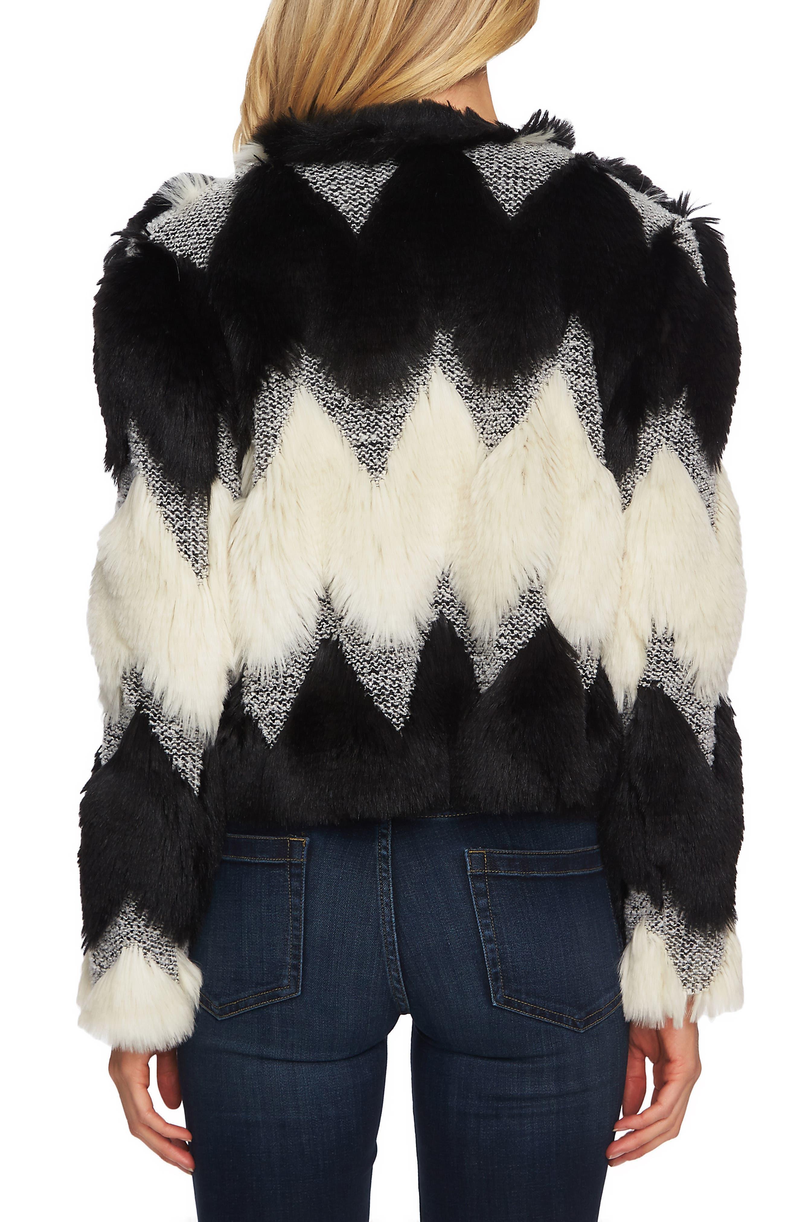 Chevron Faux Fur Jacket,                             Alternate thumbnail 2, color,                             RICH BLACK