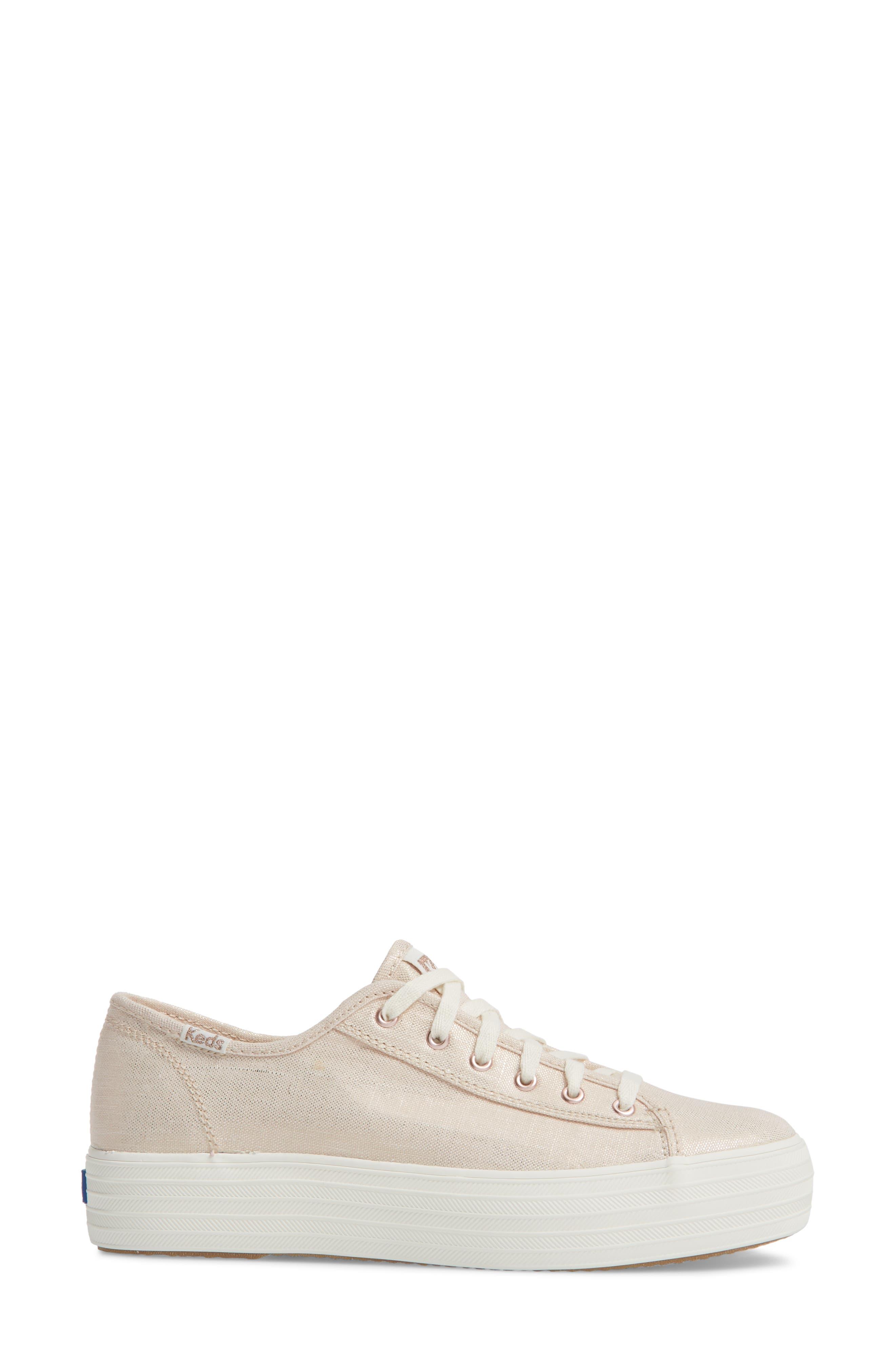 Triple Kick Metallic Linen Sneaker,                             Alternate thumbnail 6, color,