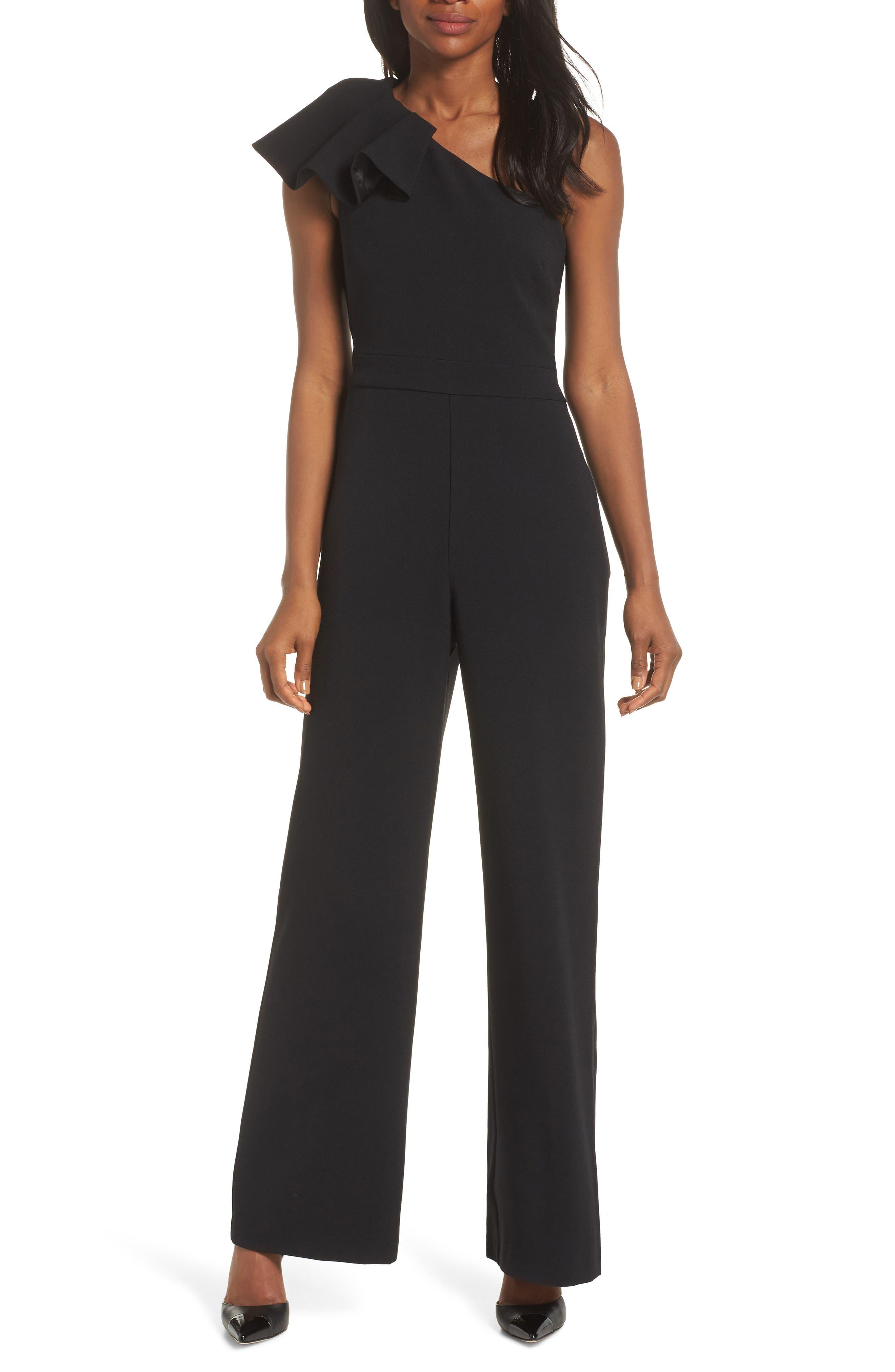One-Shoulder Ruffle Crepe Jumpsuit,                             Main thumbnail 1, color,                             BLACK