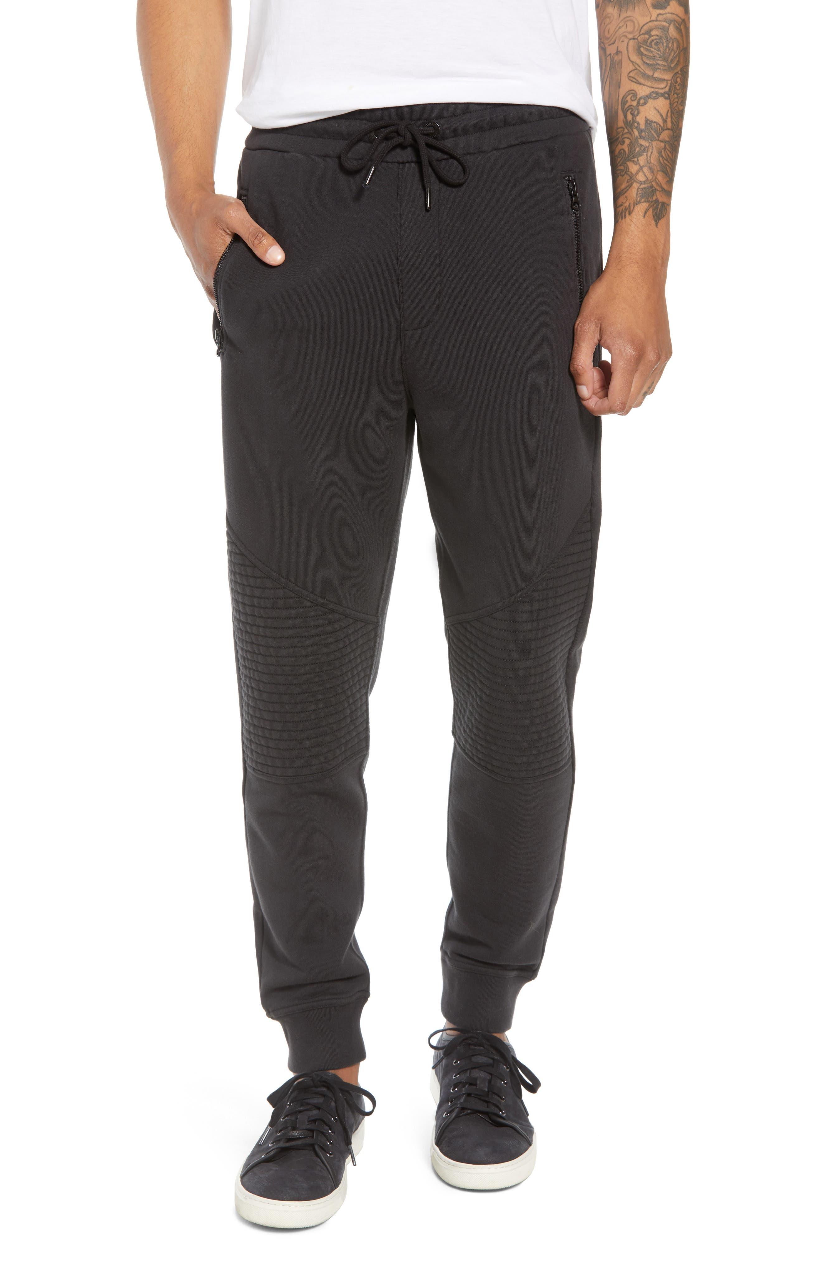 Hudson Blinder Slim Fit Moto Sweatpants,                         Main,                         color, BLACK