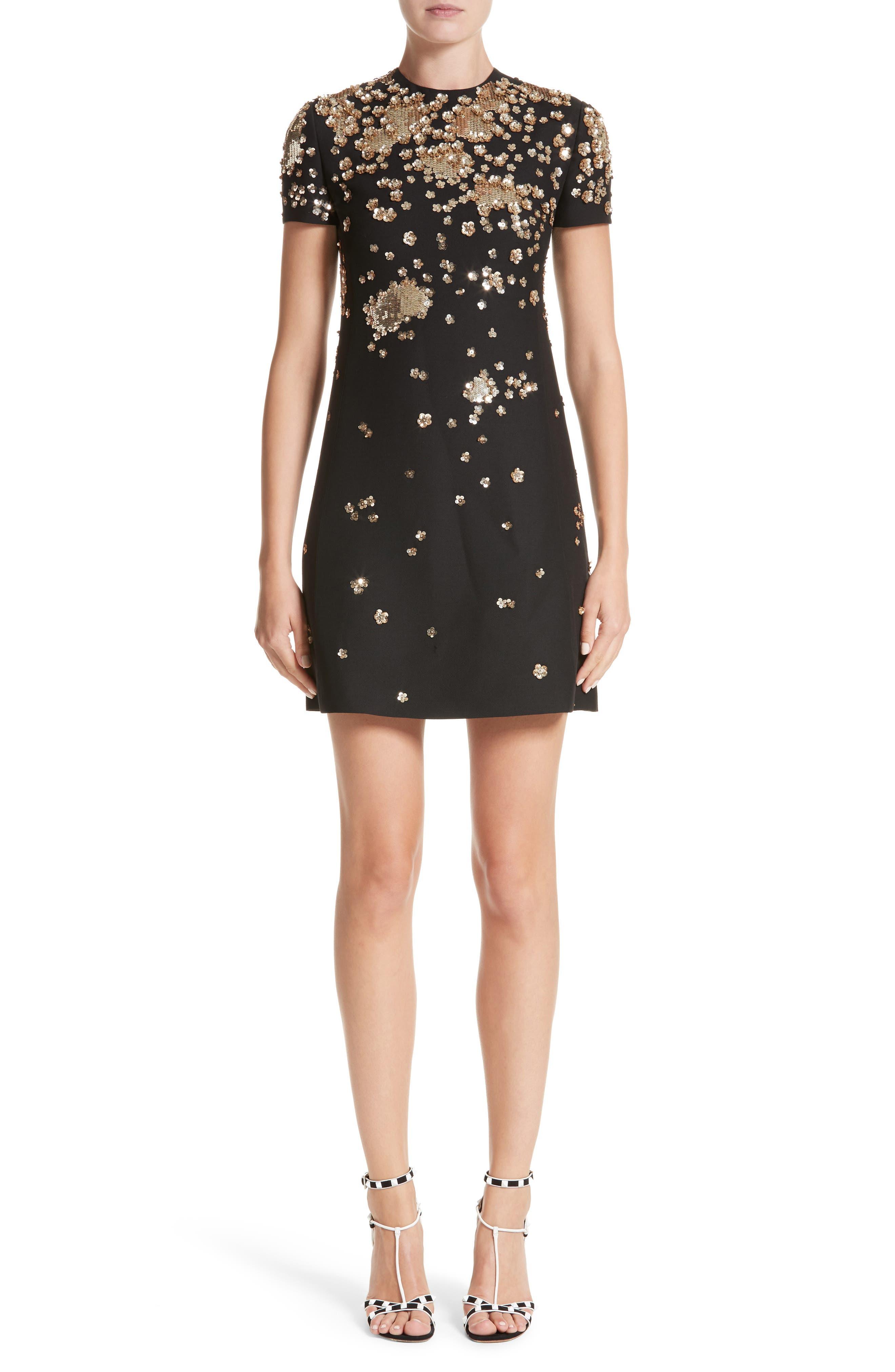 Embellished Wool & Silk Crepe Dress,                         Main,                         color, BLACK