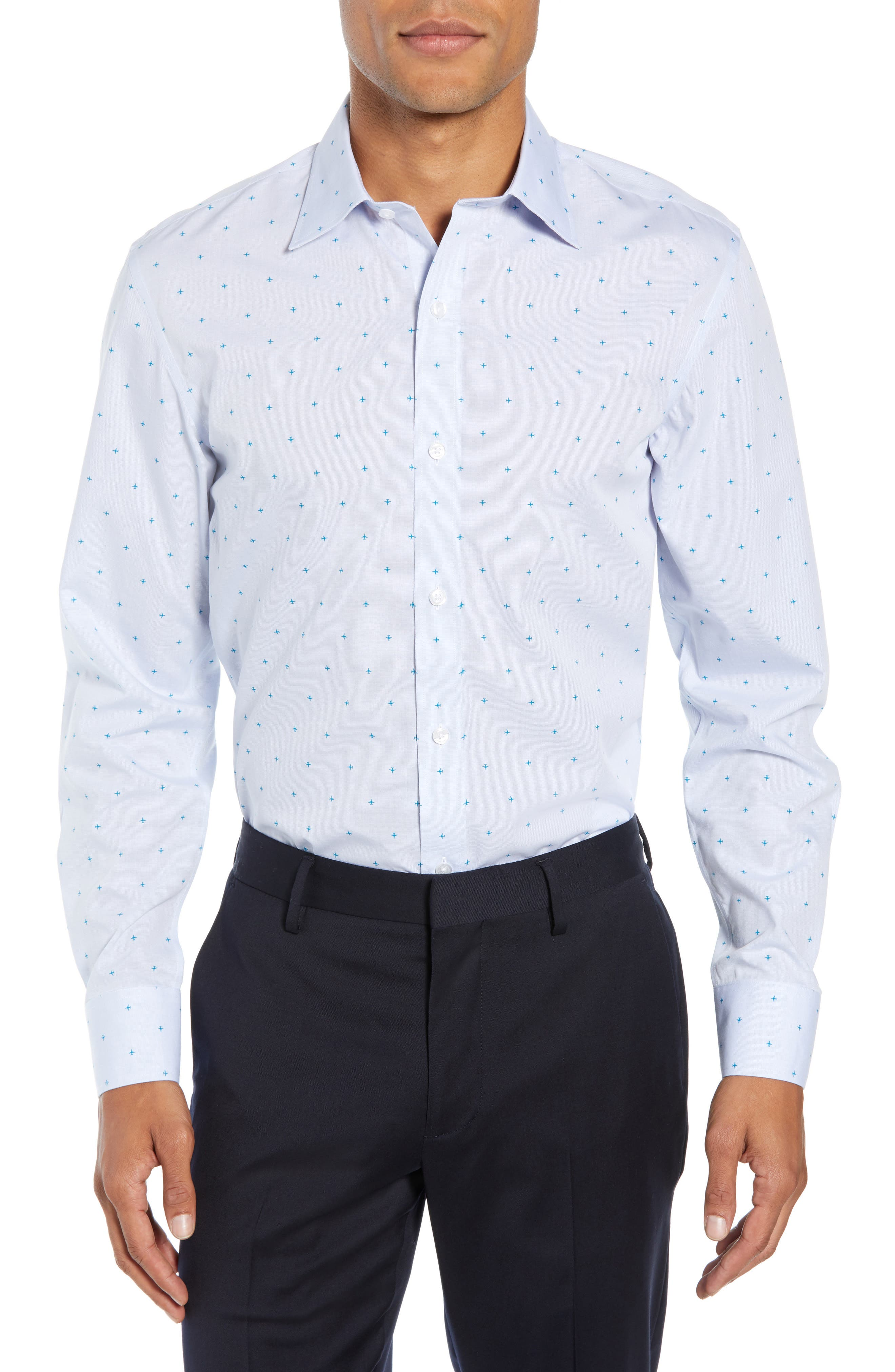 Bonobos Daily Grind Slim Fit Print Dress Shirt - Blue