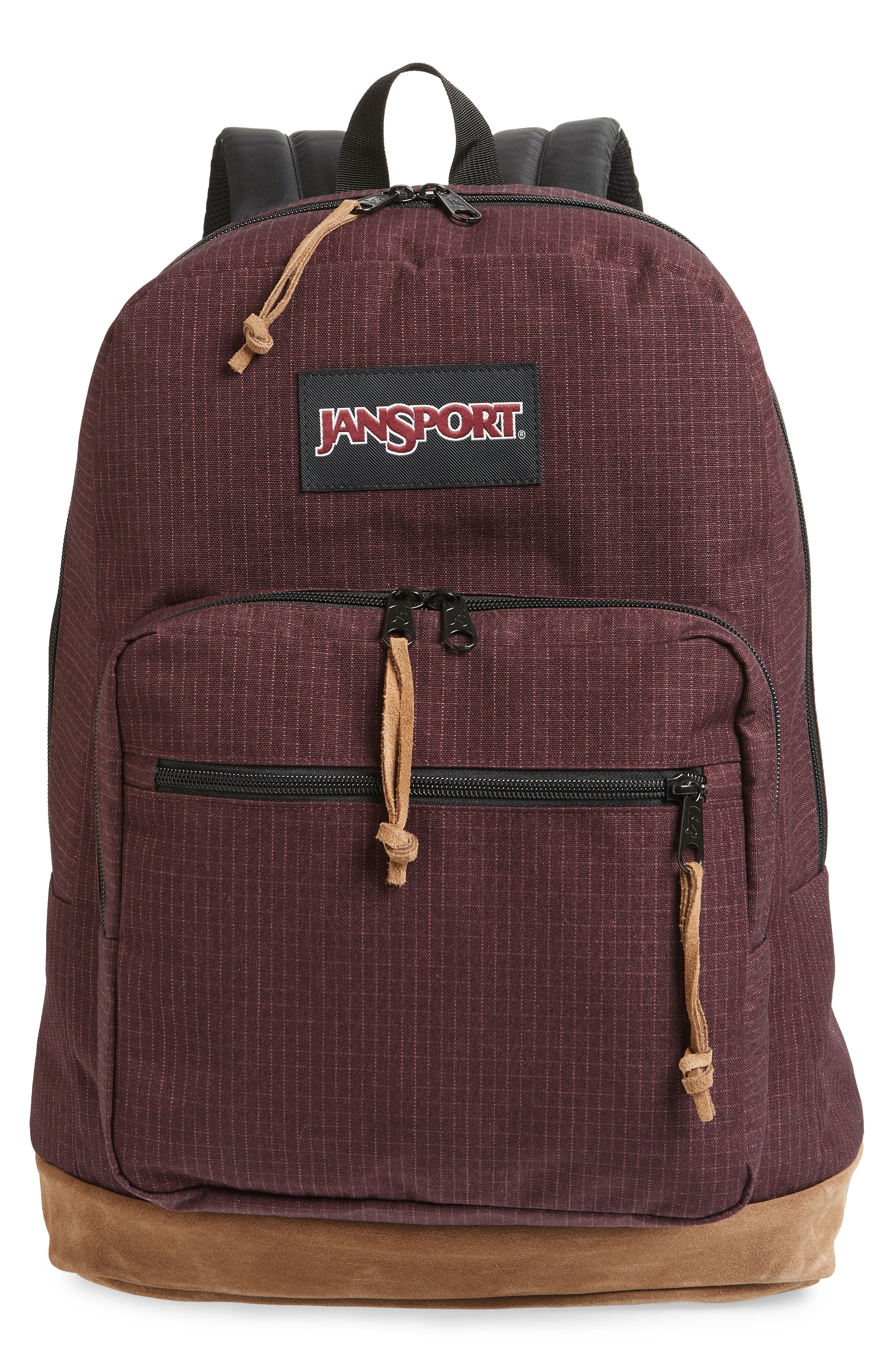 JANSPORT 'Right Pack' Backpack - Burgundy in Micro Grid