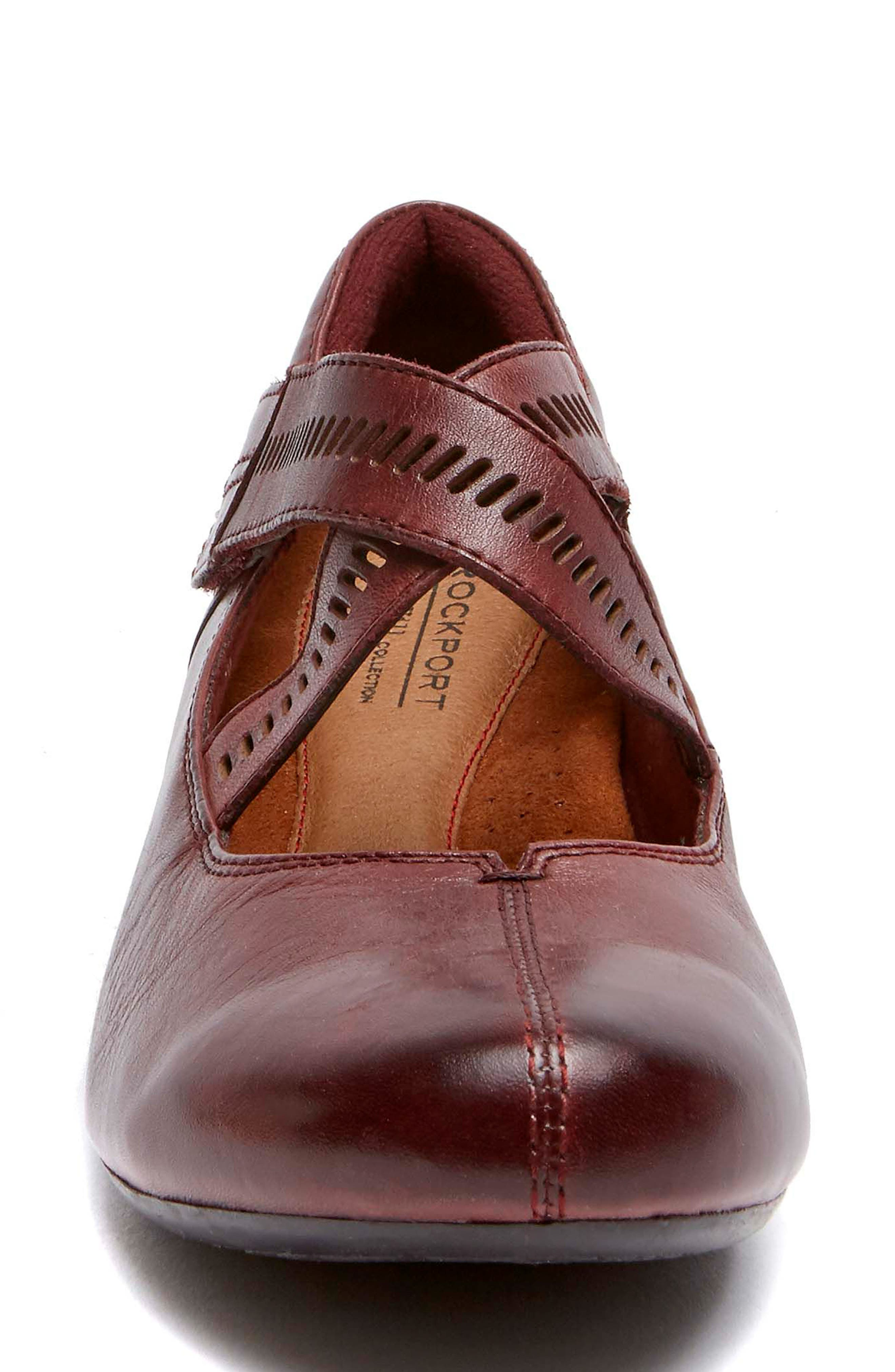 'Janet' Mary Jane Wedge,                             Alternate thumbnail 4, color,                             MERLOT LEATHER