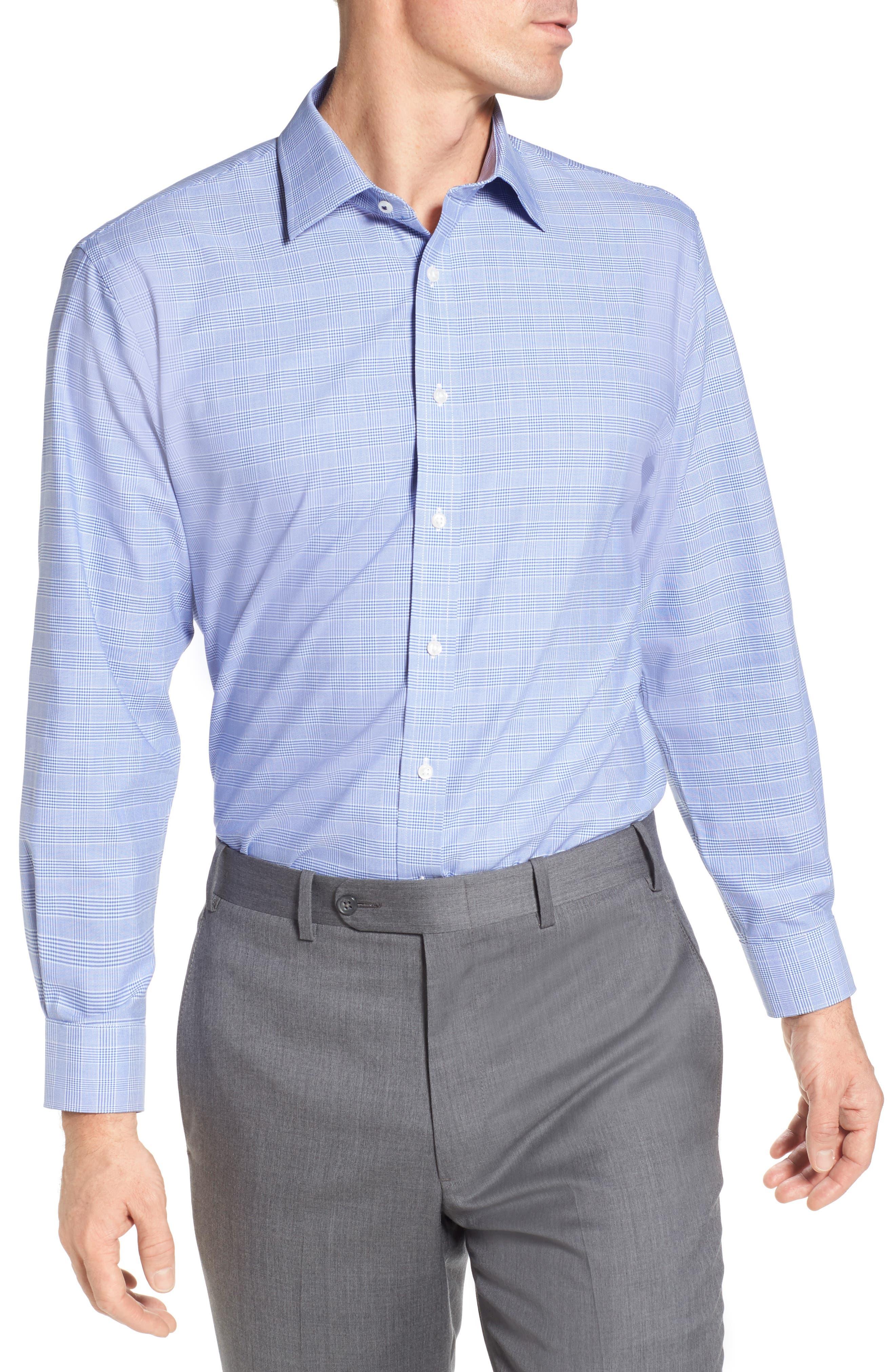 Tech-Smart Traditional Fit Stretch Plaid Dress Shirt,                             Main thumbnail 4, color,