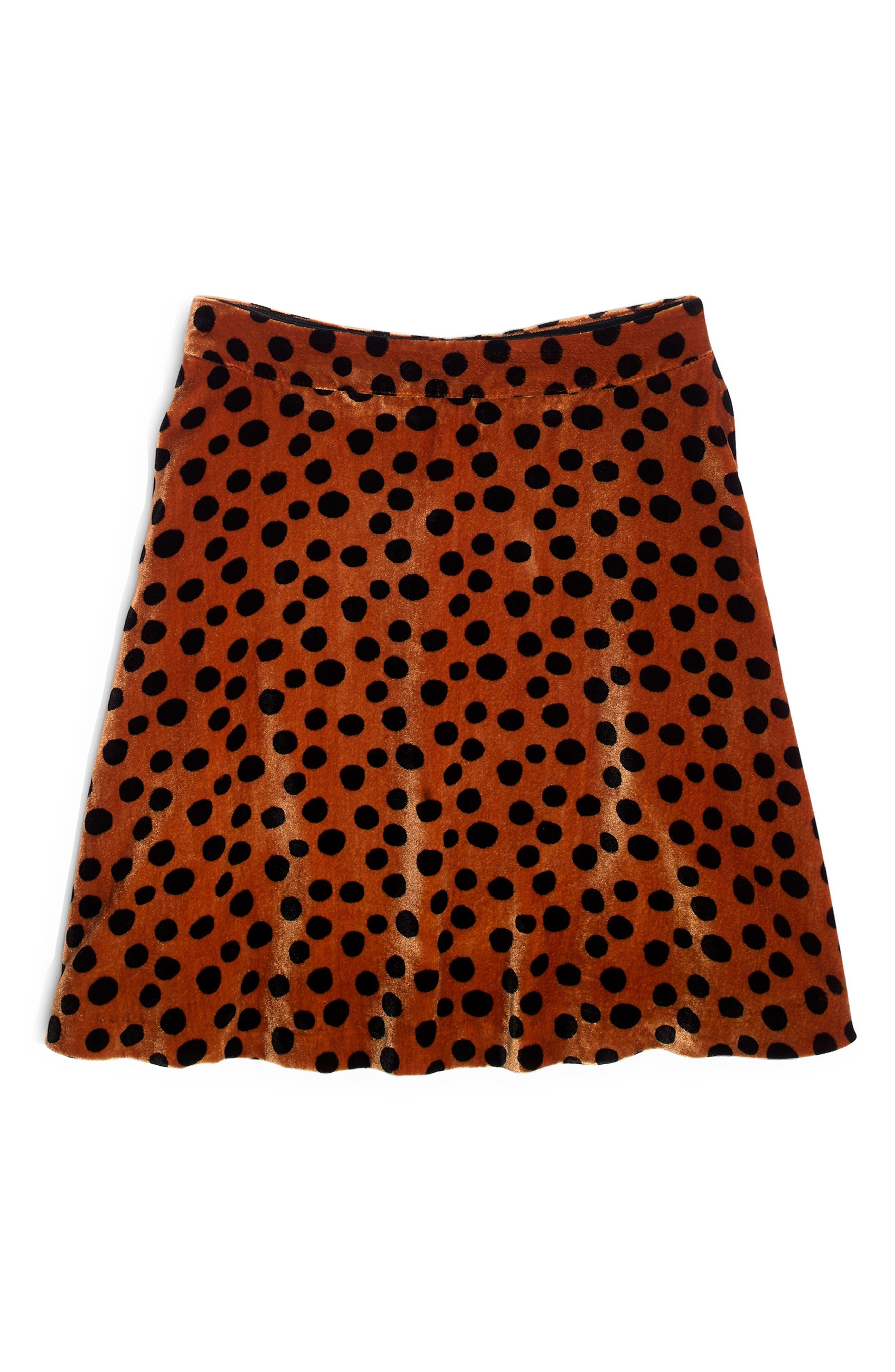 Velvet Circle Miniskirt,                             Alternate thumbnail 4, color,                             LEOPARD DOT BURNT SIENNA