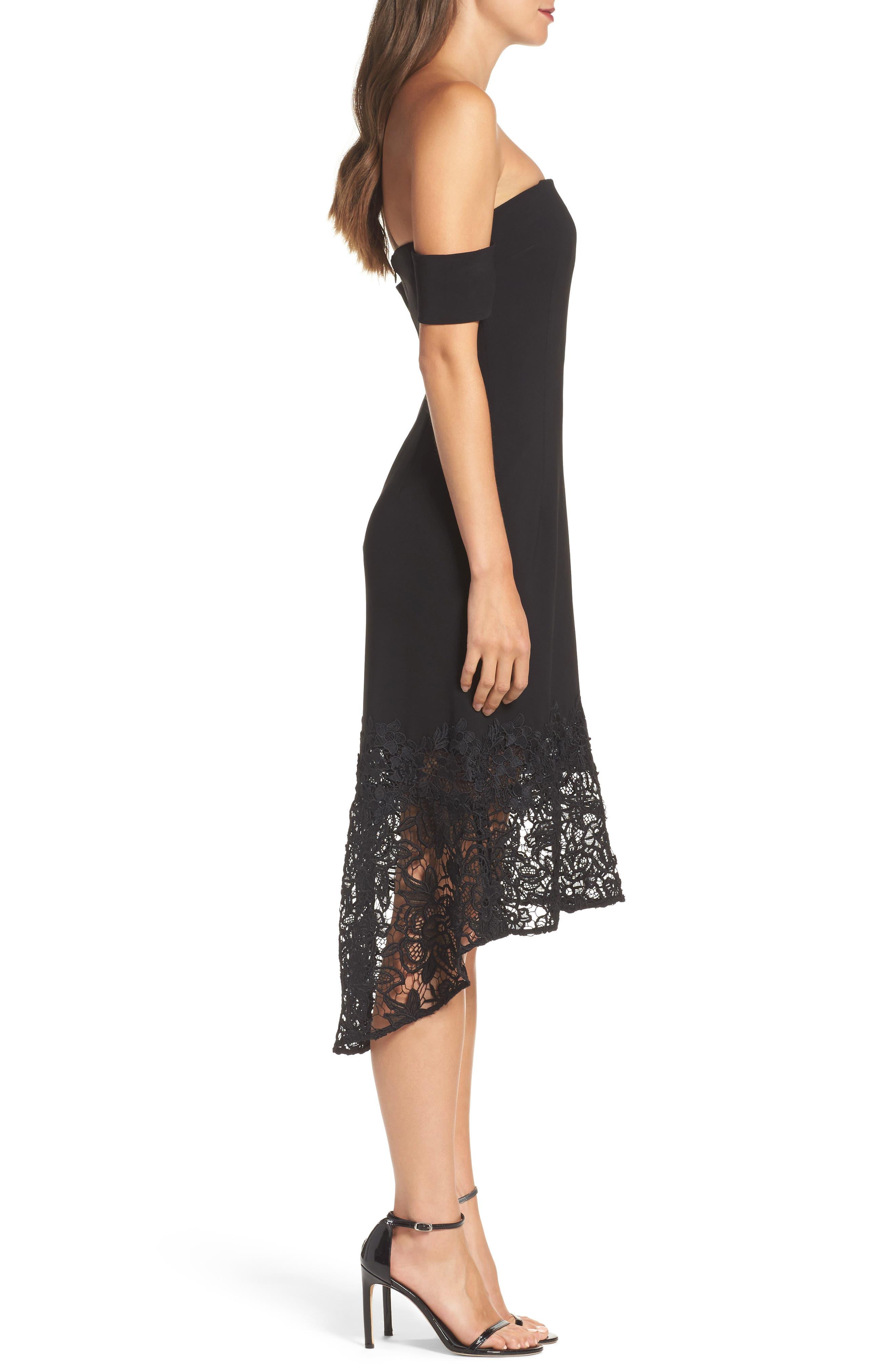 Noir Indure Lace Hem Off the Shoulder Dress,                             Alternate thumbnail 3, color,                             001