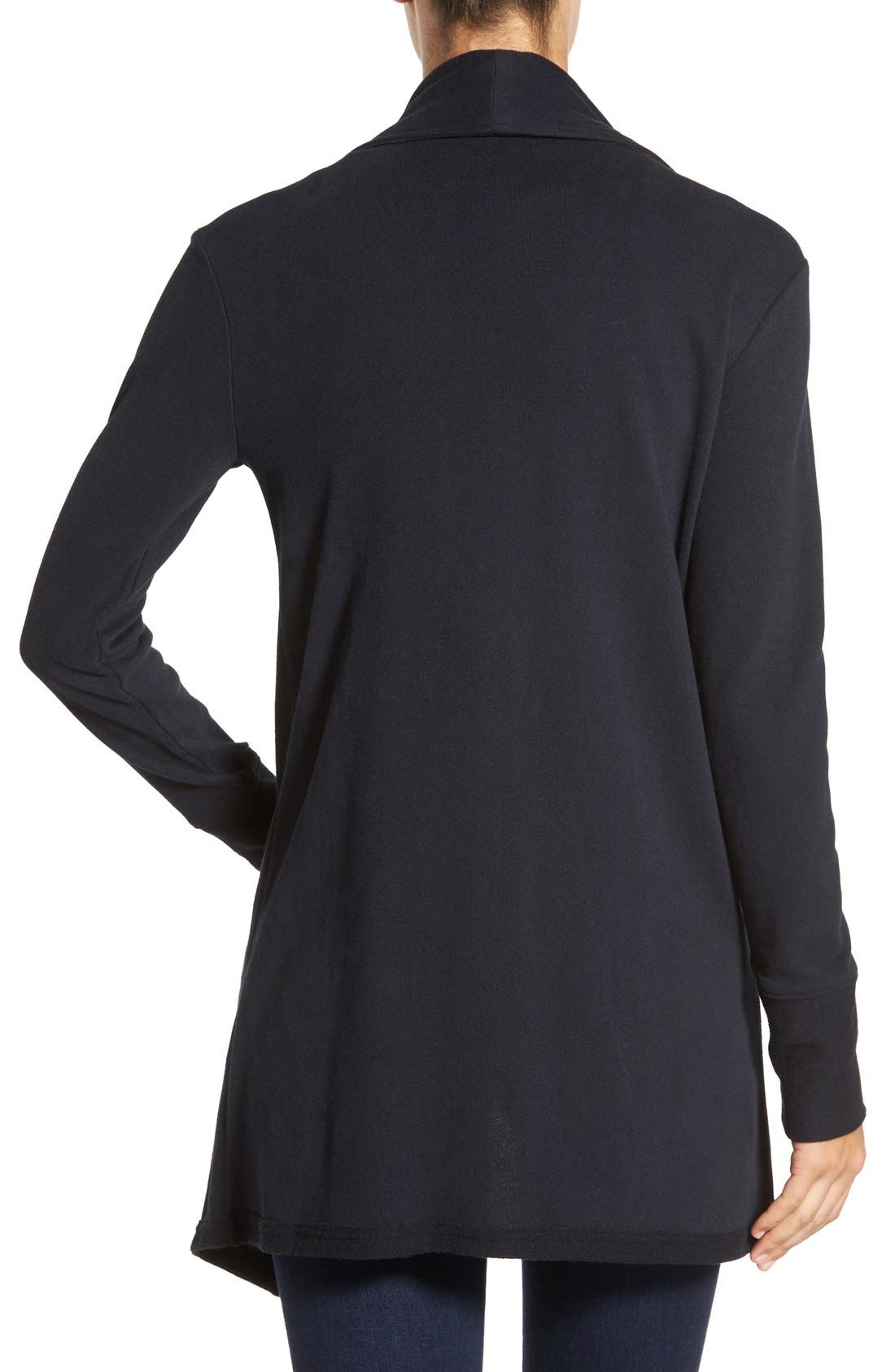 Asymmetrical Drape Collar Terry Jacket,                             Alternate thumbnail 6, color,                             001