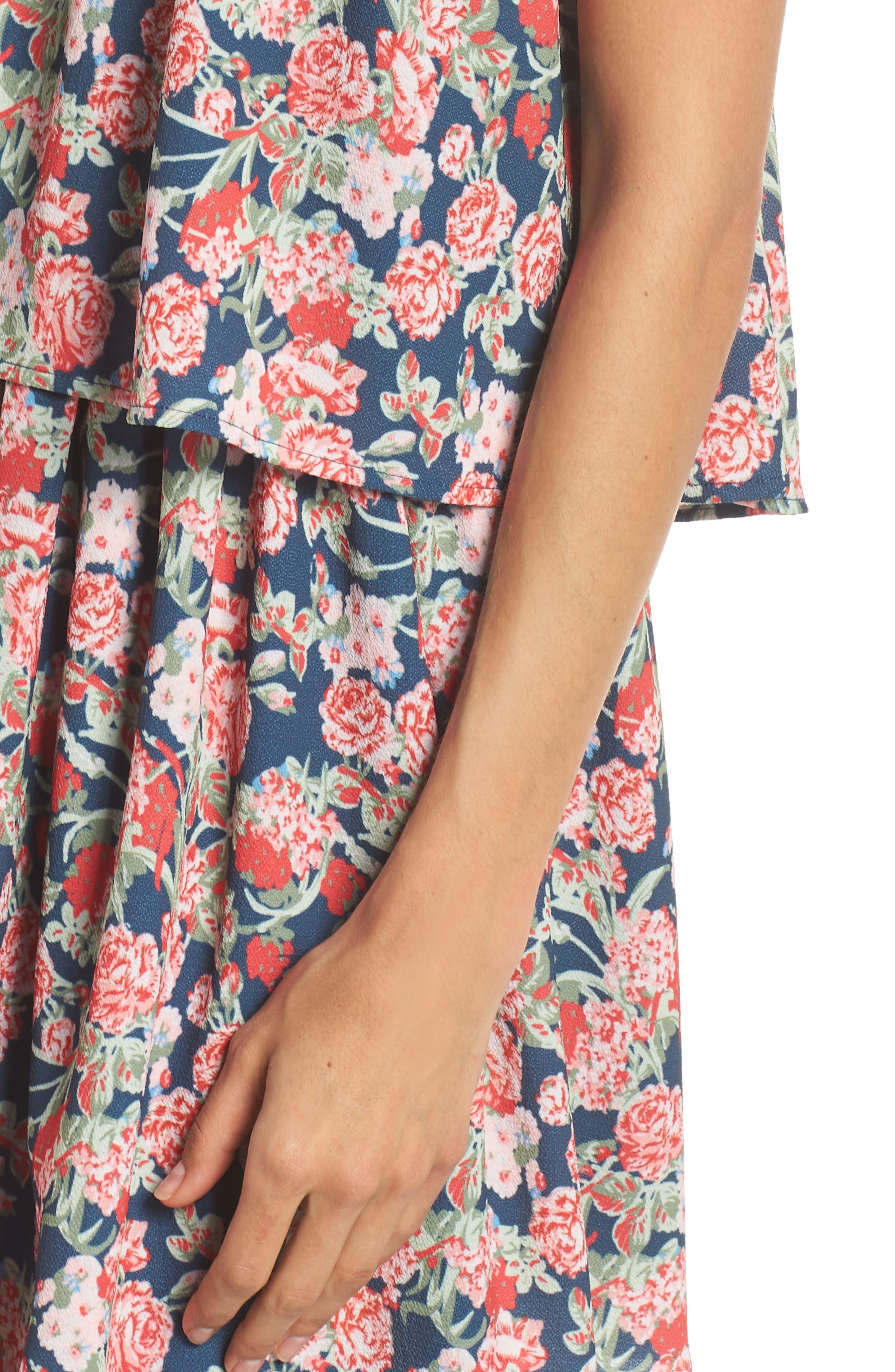 Print Strapless Popover Dress,                             Alternate thumbnail 4, color,