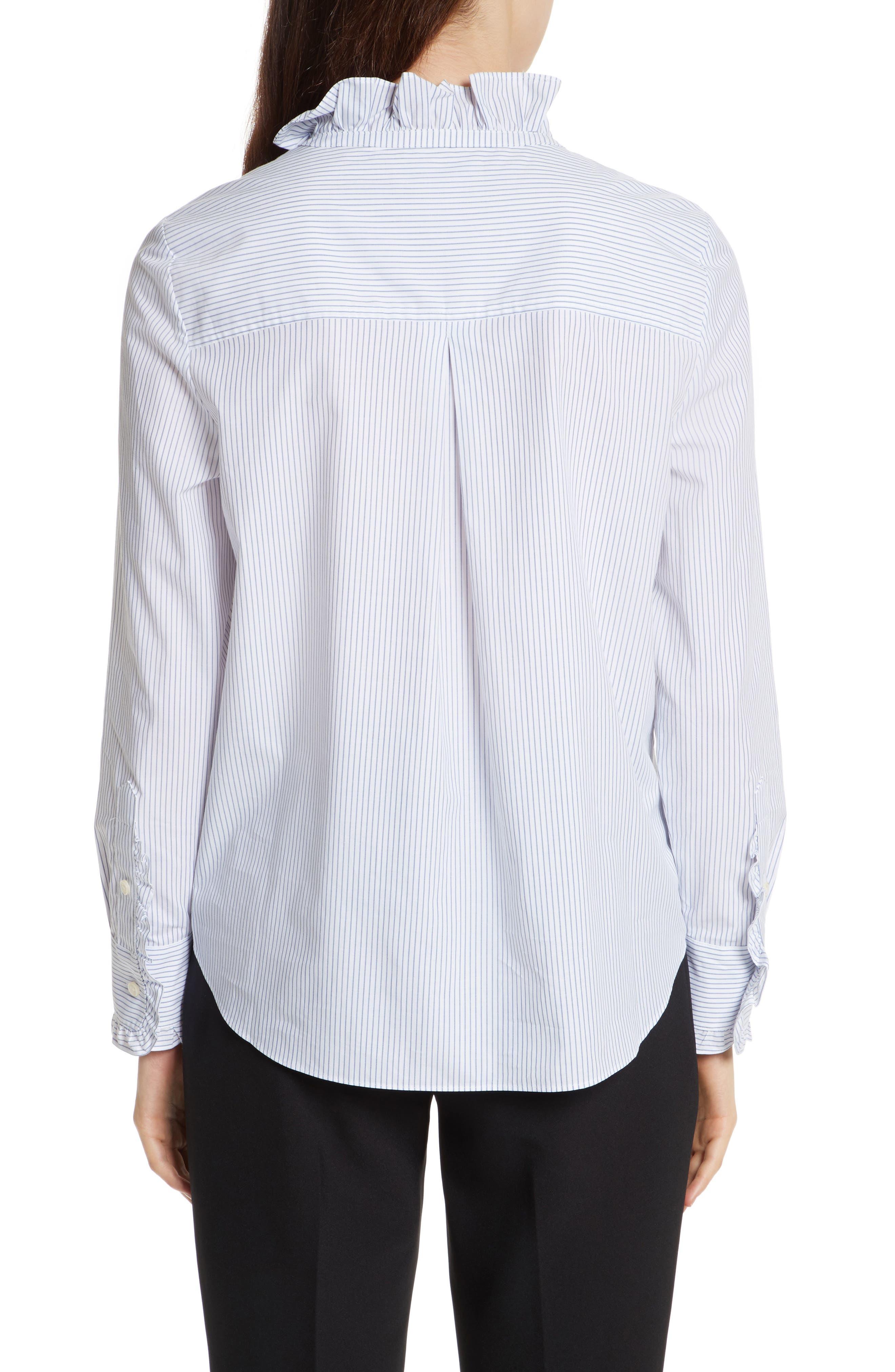 stripe ruffle neck poplin shirt,                             Alternate thumbnail 2, color,