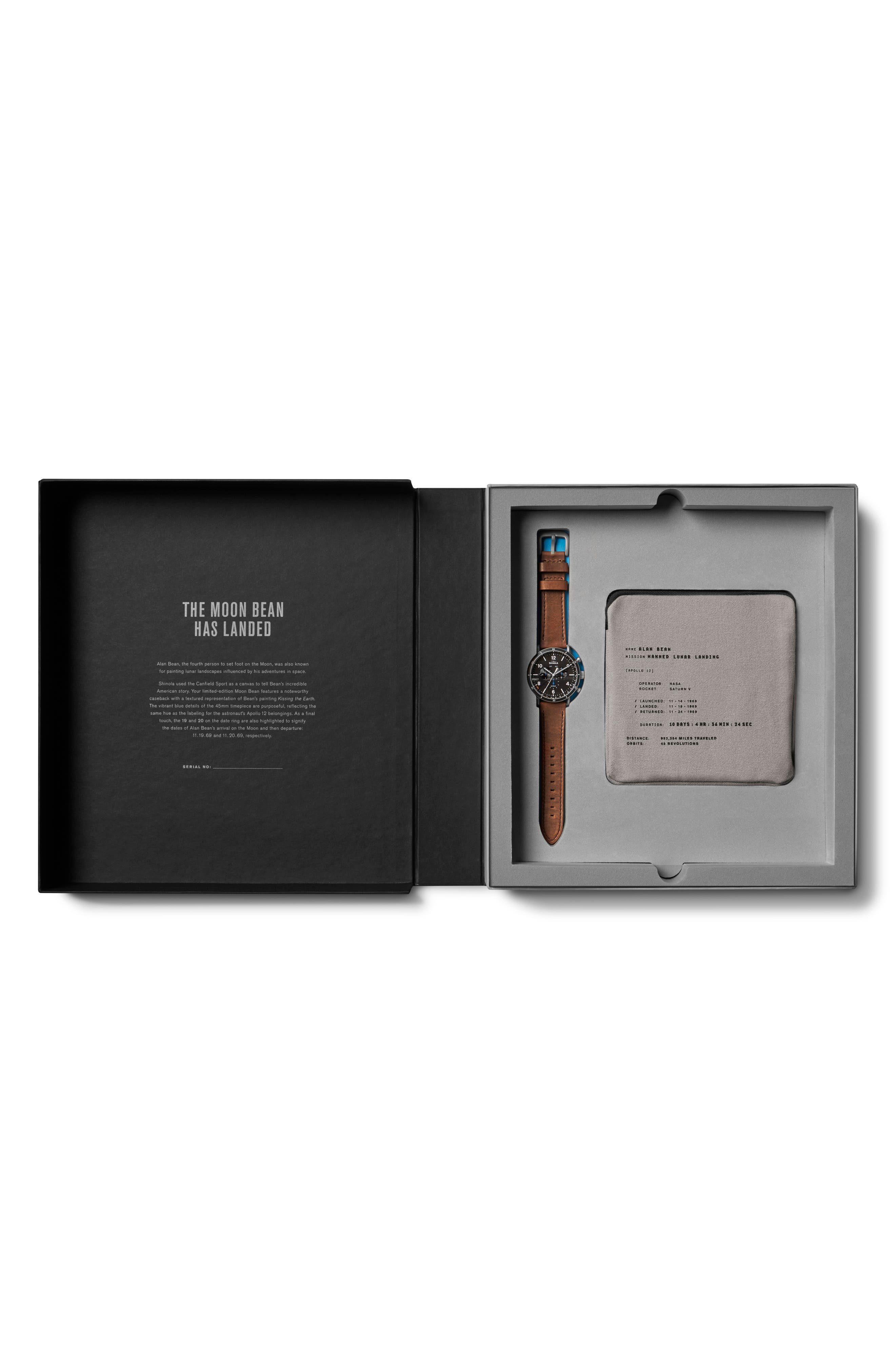 The Canfield Sport - Alan Bean Special Edition Chrongraph Leather Strap Watch,                             Alternate thumbnail 7, color,                             TAN/ BLACK/ SILVER